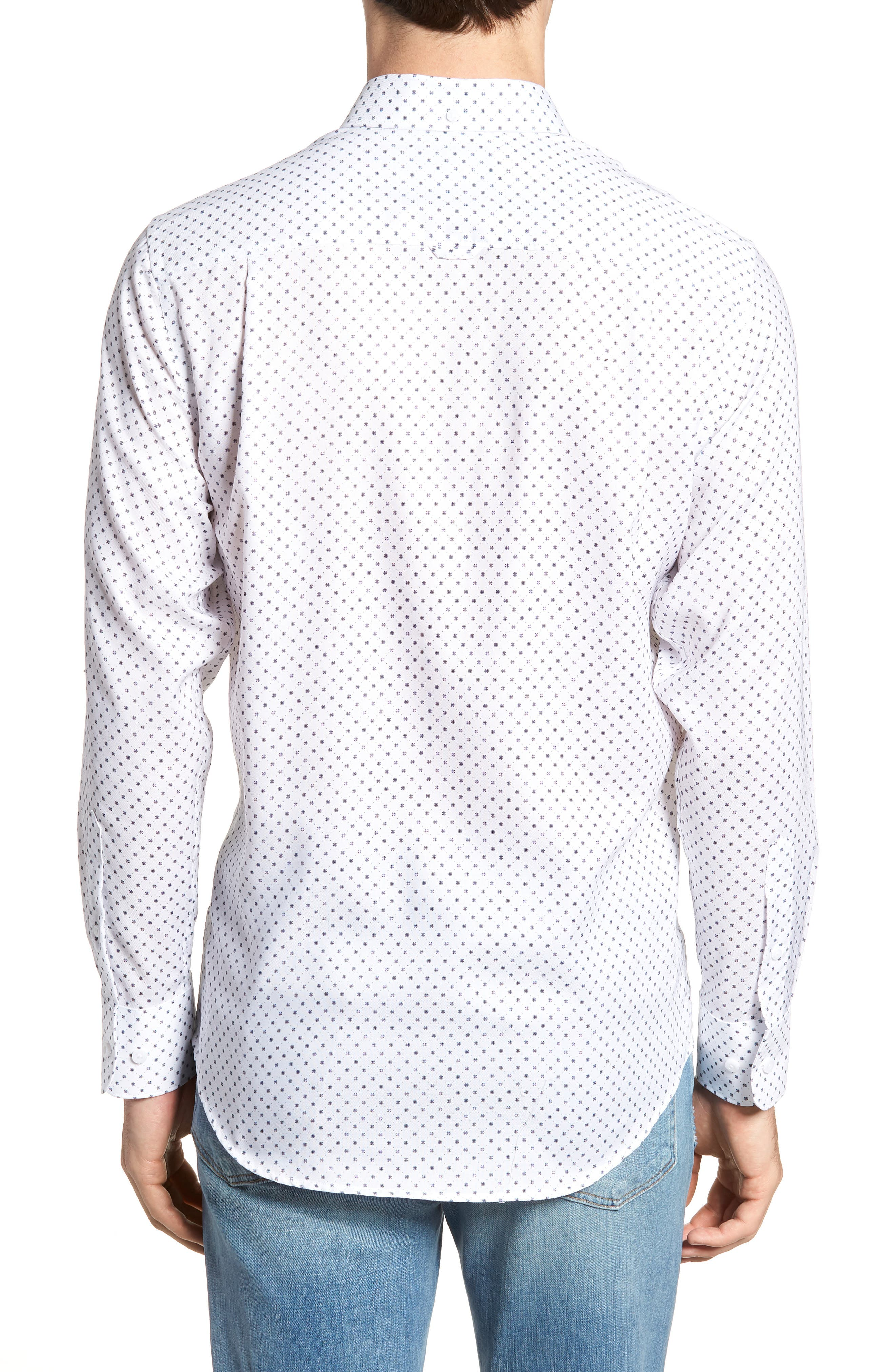 Regular Fit Dobby Print Sport Shirt,                             Alternate thumbnail 3, color,                             White Navy Dobby Print