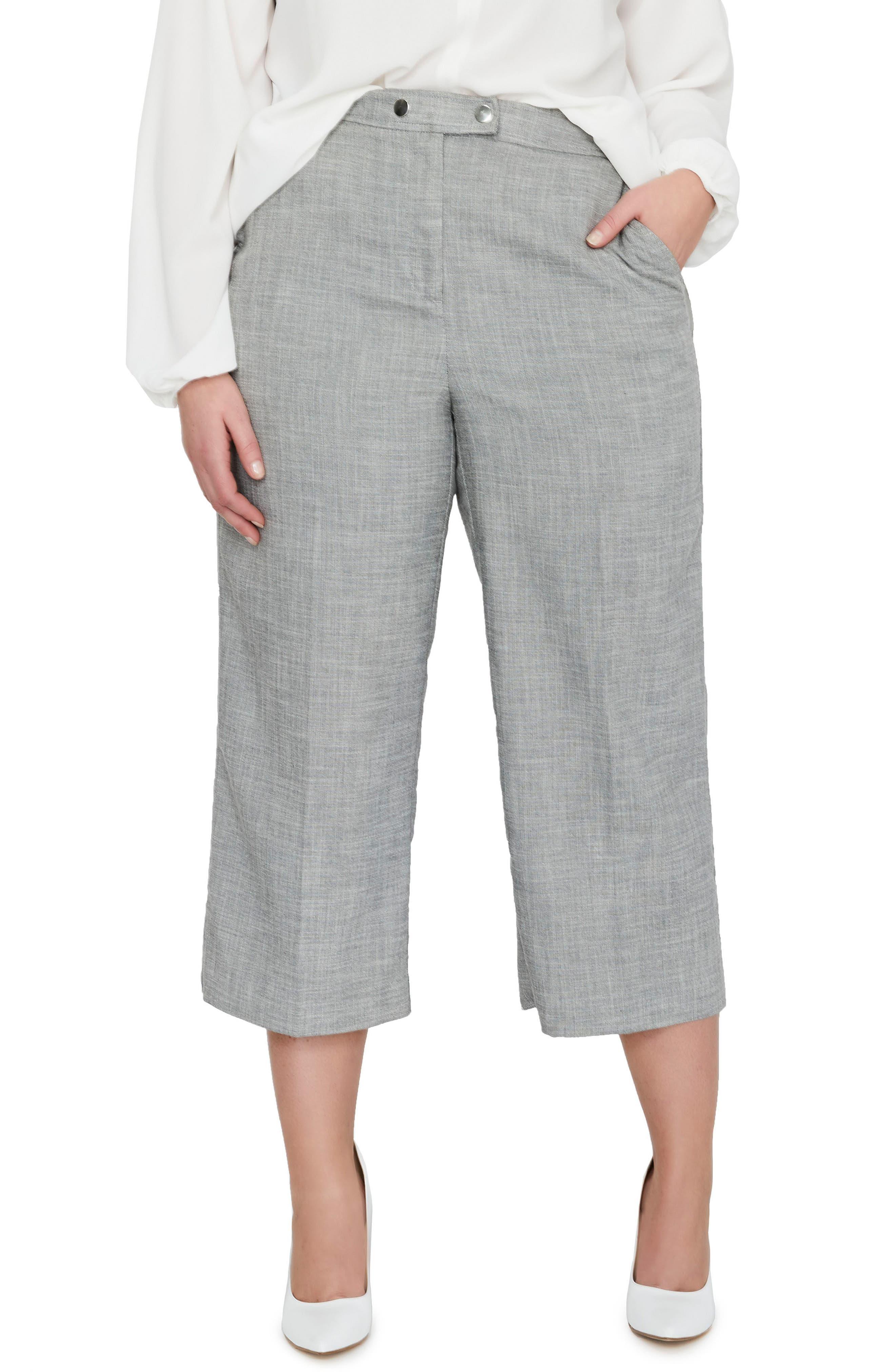 MICHEL STUDIO Crop Wide Leg Pants (Plus Size)