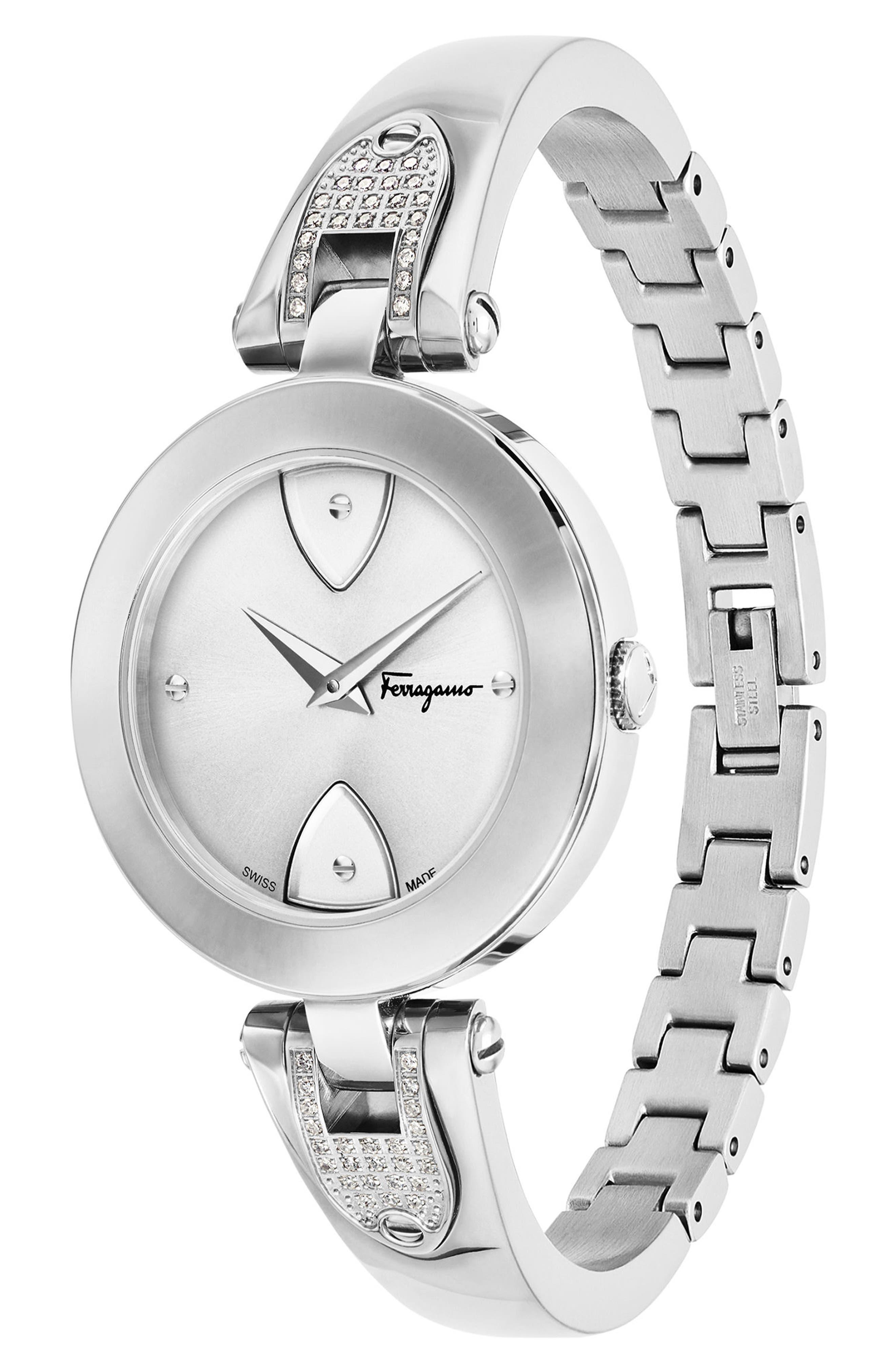 Gilion Diamond Bangle Watch, 32mm,                             Alternate thumbnail 3, color,                             Silver