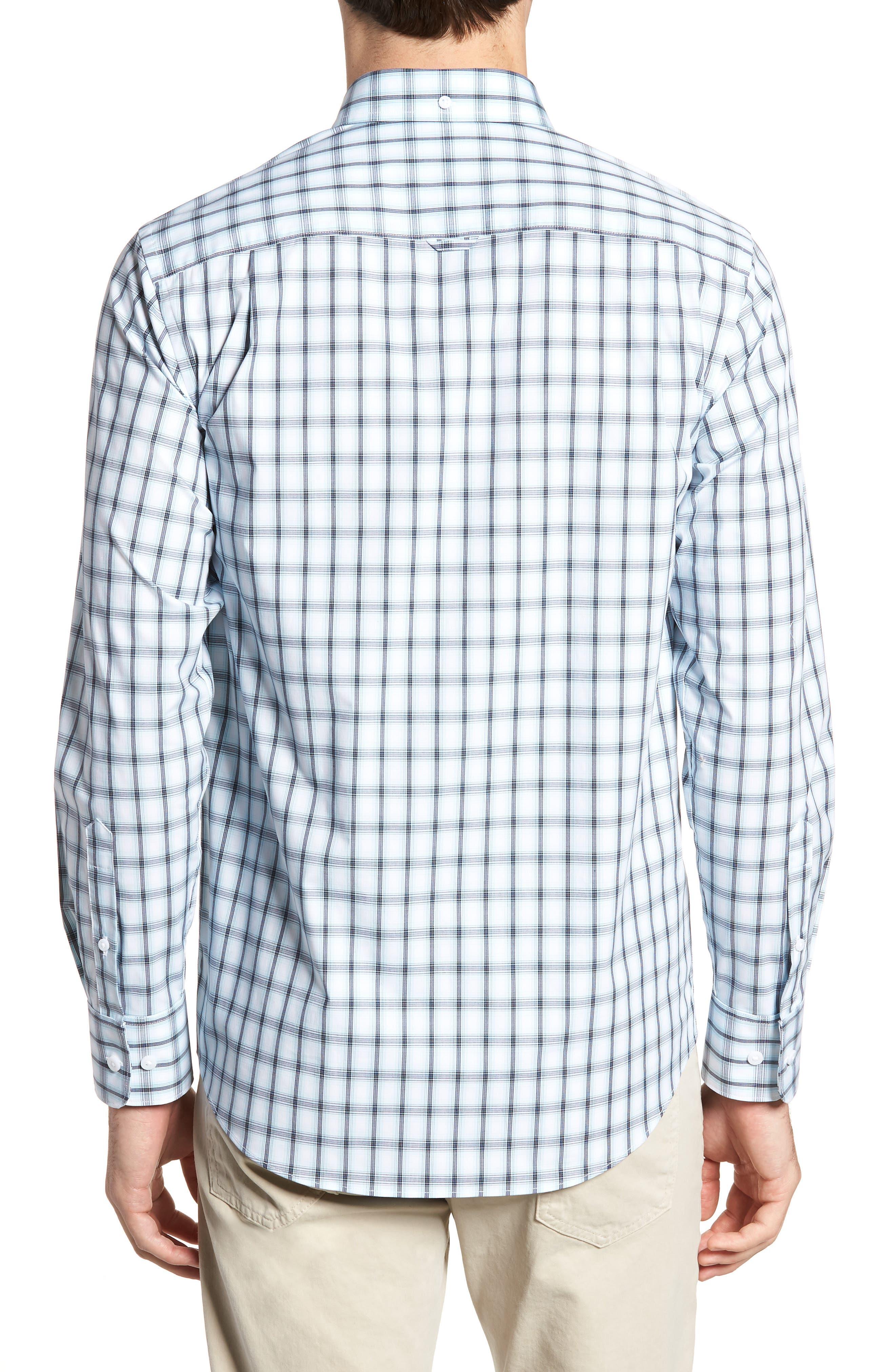 Tech-Smart Regular Fit Check Sport Shirt,                             Alternate thumbnail 3, color,                             Blue Orydalis Ombre Check