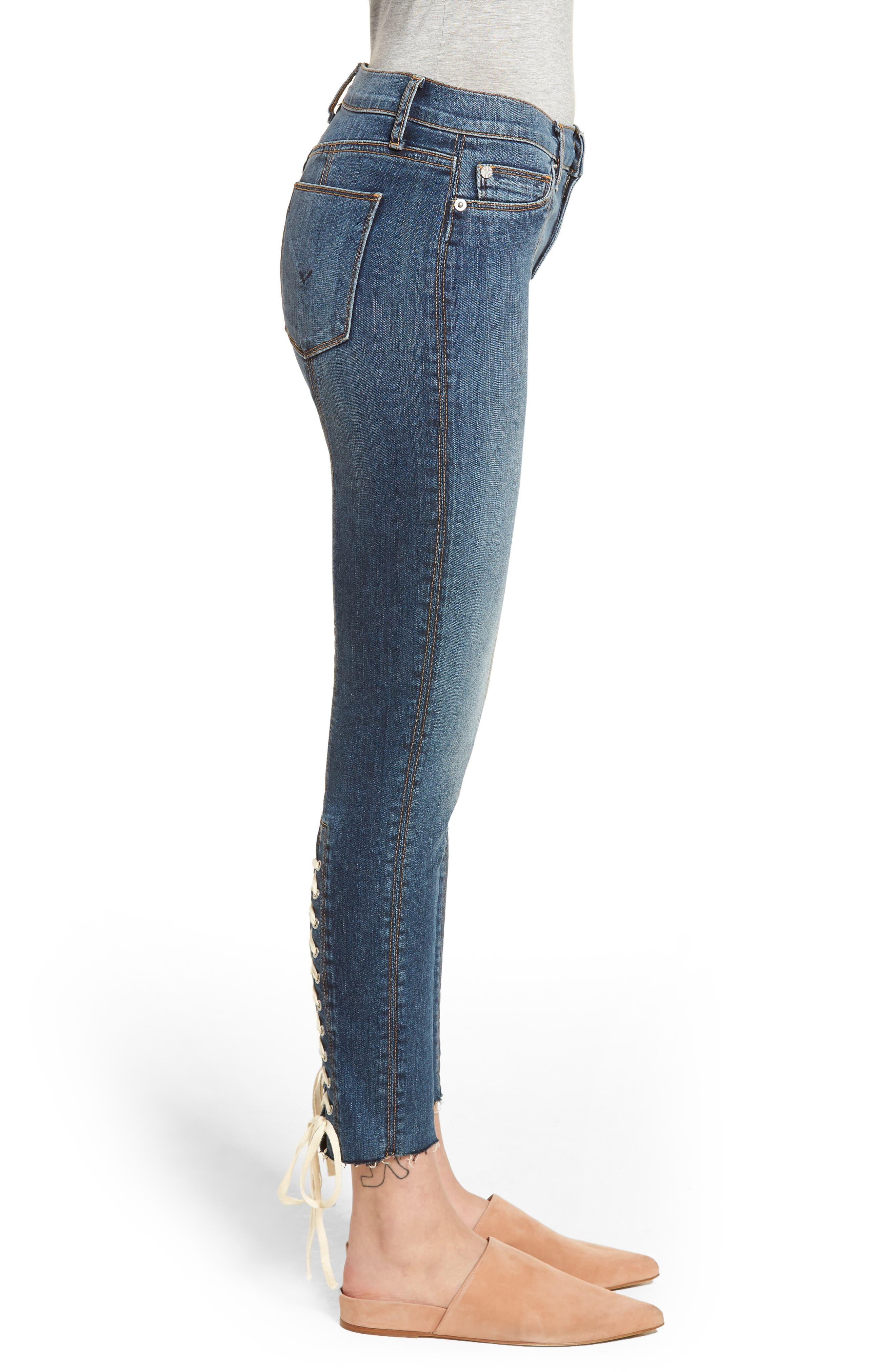 Nico Lace-Up Crop Skinny Jeans,                             Alternate thumbnail 3, color,                             Unfamed