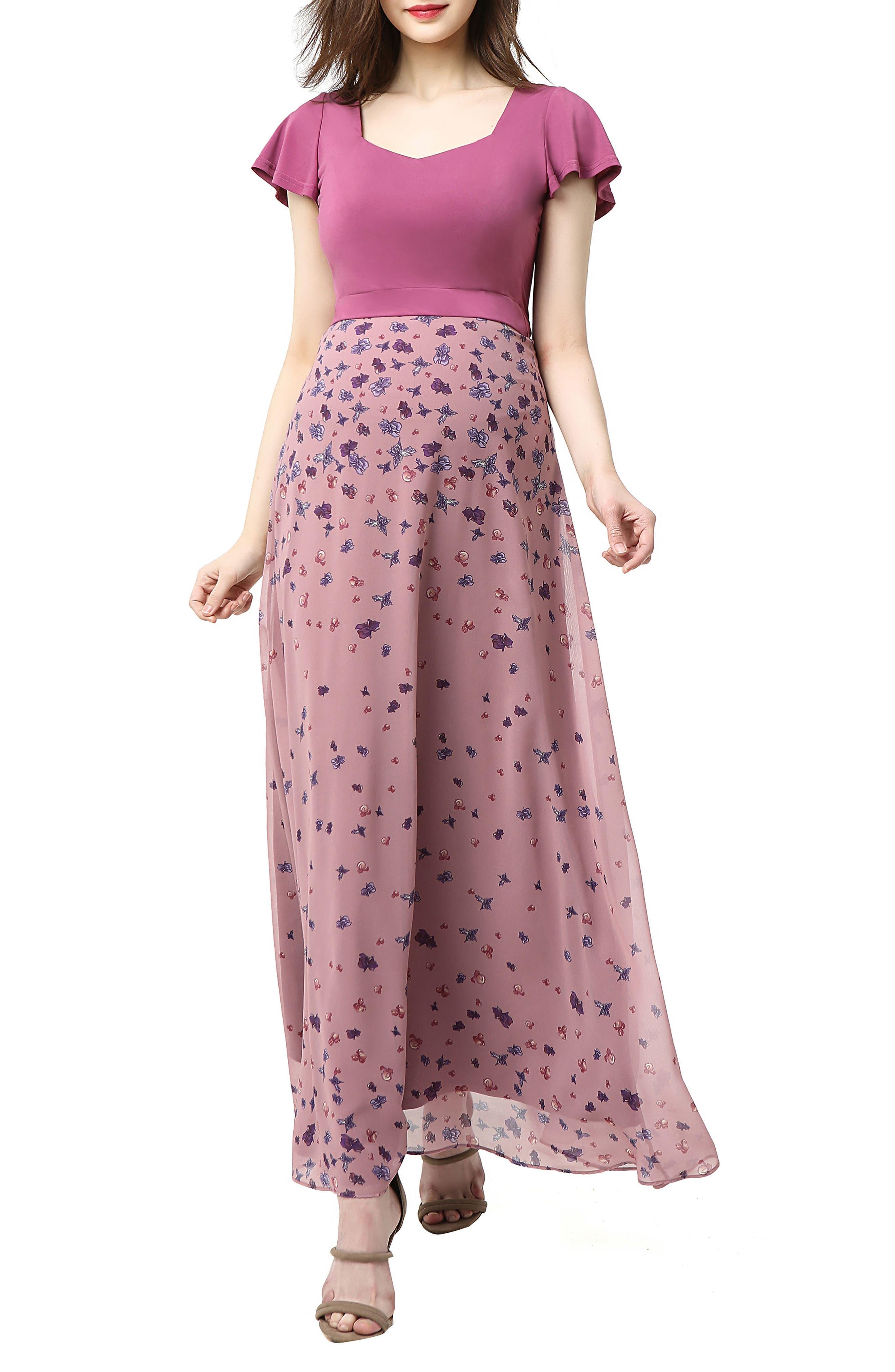 Emma Flutter Sleeve Maternity Maxi Dress,                             Main thumbnail 1, color,                             Rose Pink