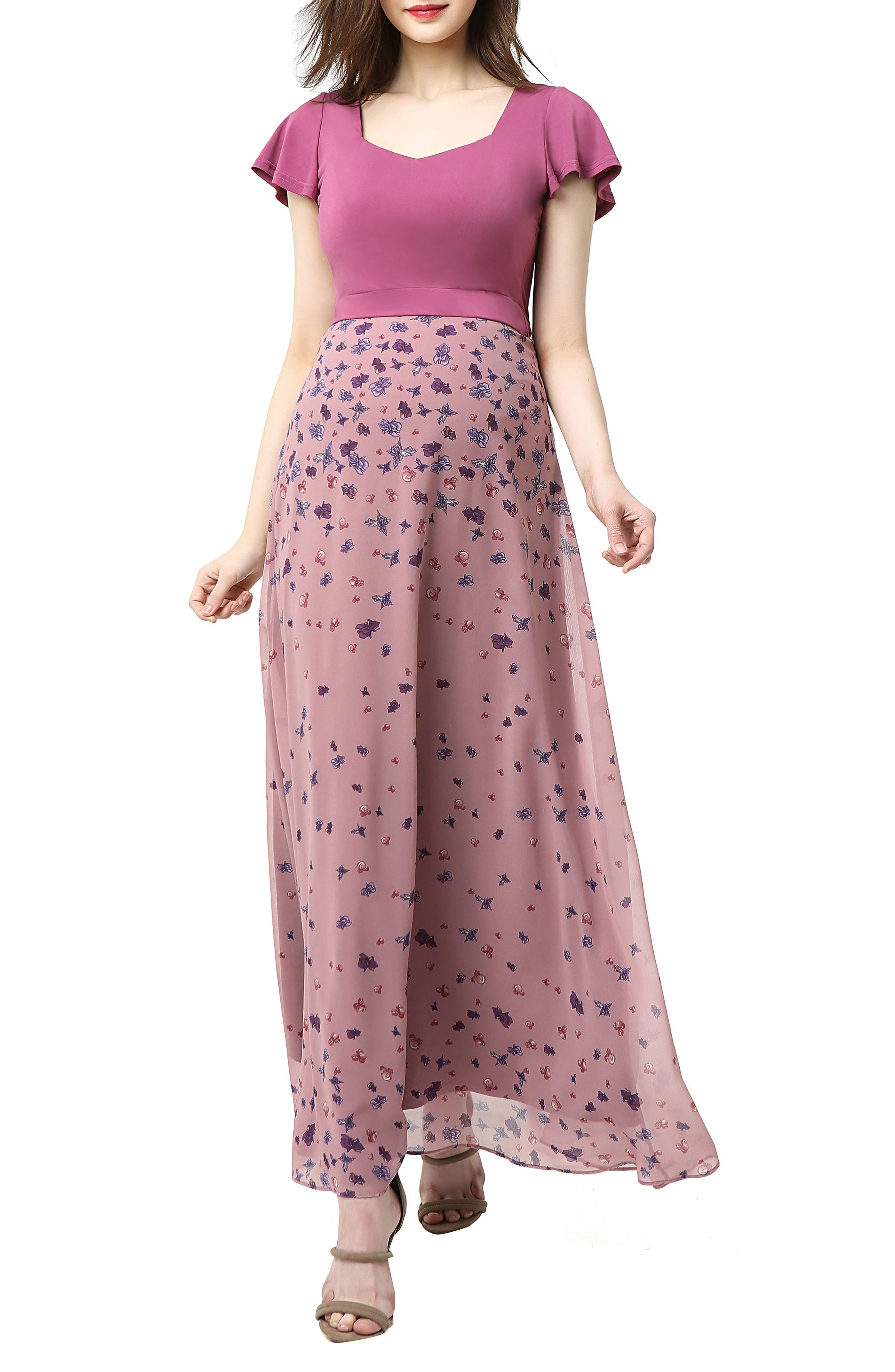 Emma Flutter Sleeve Maternity Maxi Dress,                         Main,                         color, Rose Pink