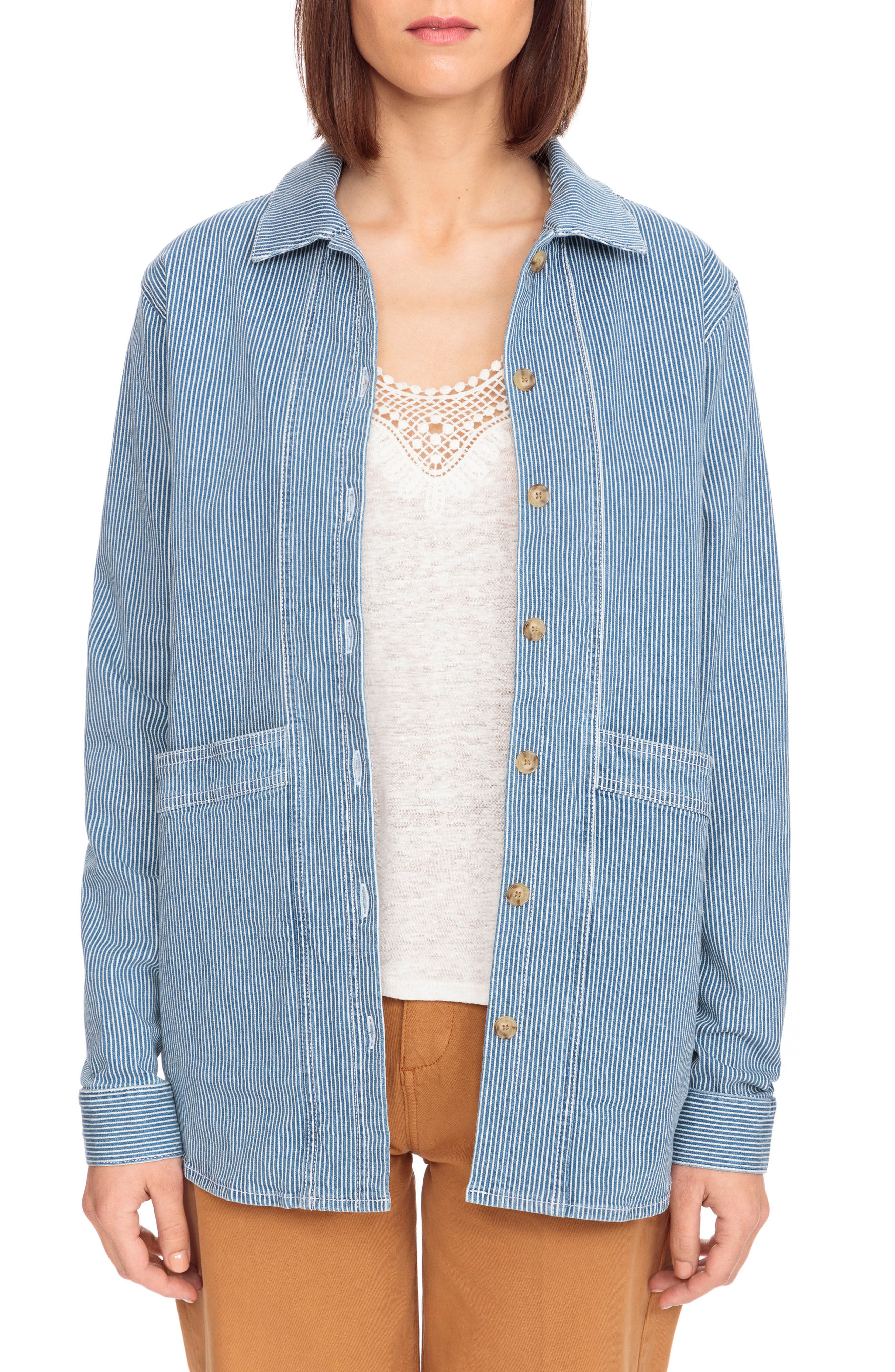 Will Stripe Shirt Jacket,                             Main thumbnail 1, color,                             Off White And Blue Stripes