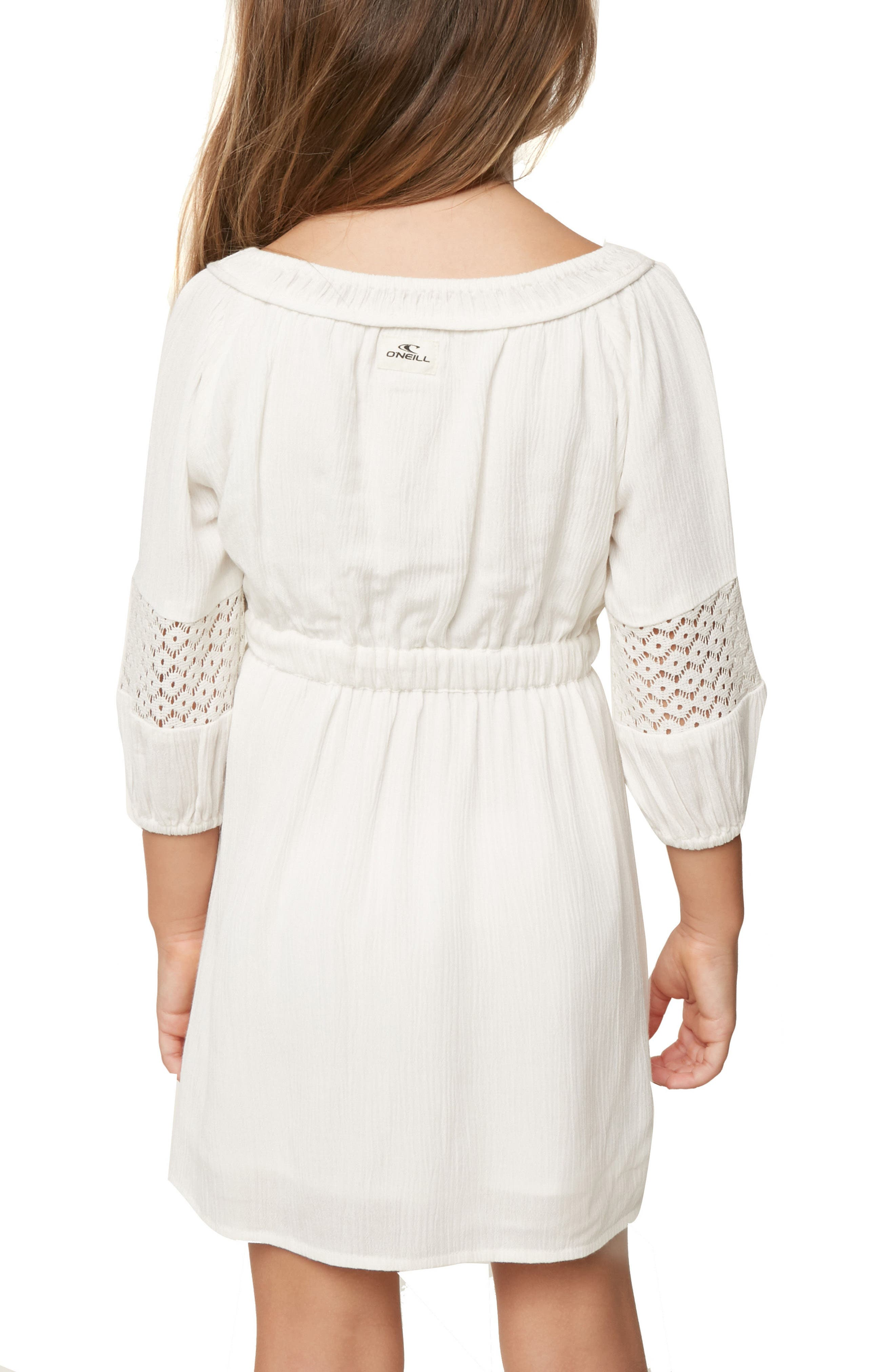 Malina Floral Embroidered Dress,                             Alternate thumbnail 3, color,                             White