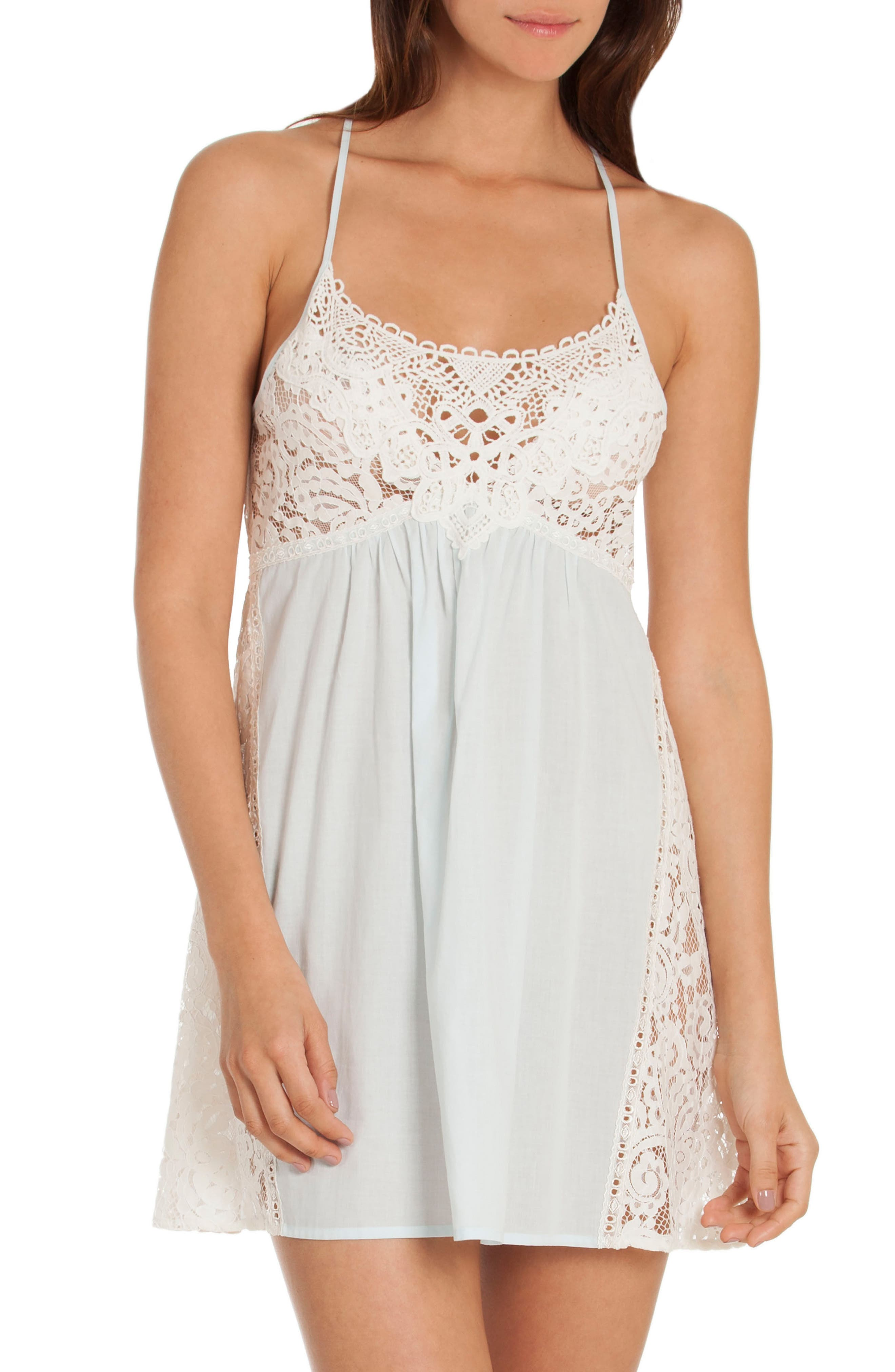 Lace Chemise,                             Main thumbnail 1, color,                             Skyfall/ Beige
