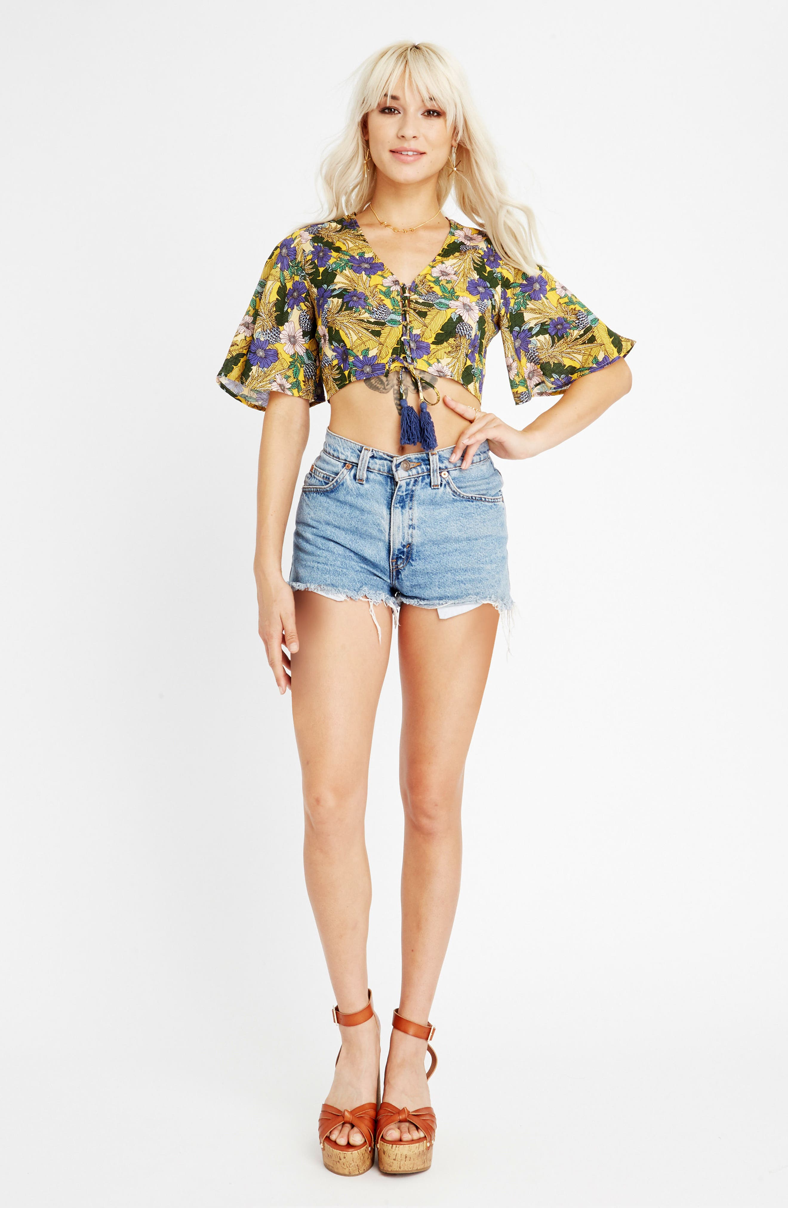 Isla Floral Print Crop Top,                             Alternate thumbnail 2, color,                             Yellow Multi