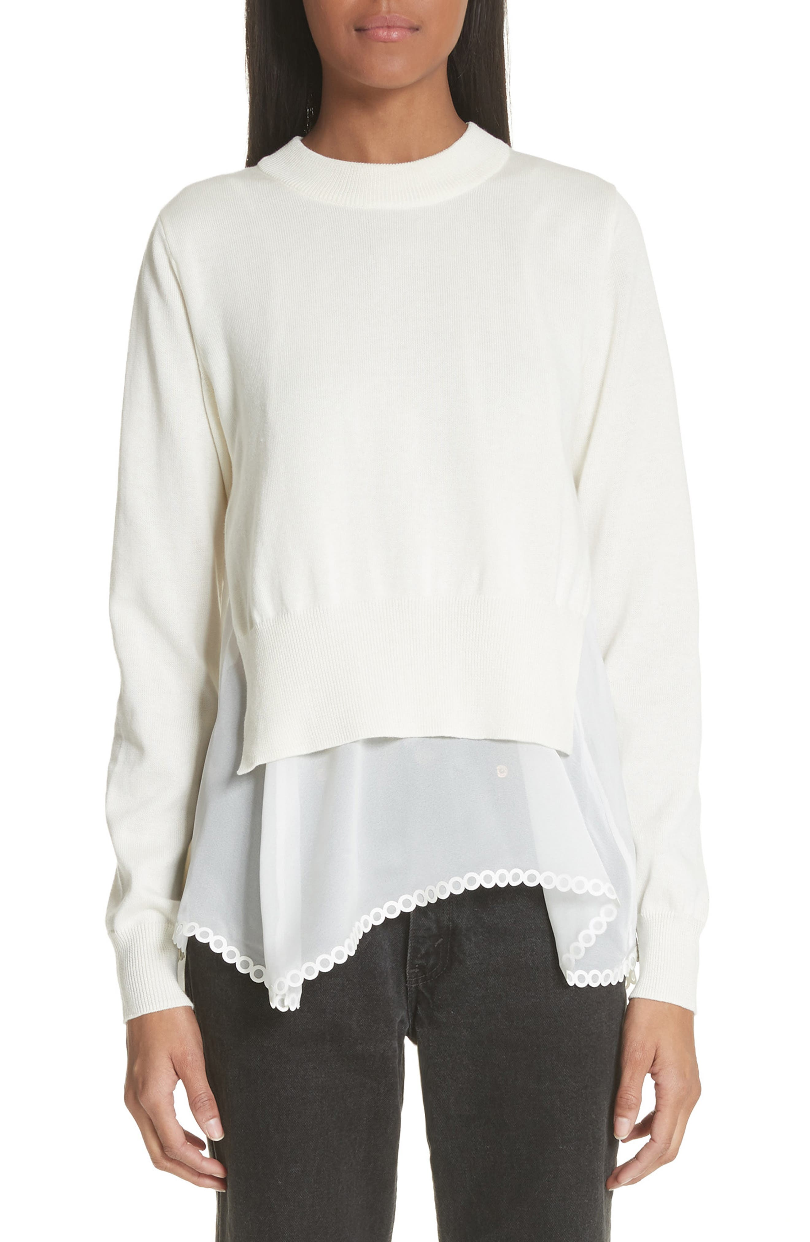 Georgette Hem Sweater,                         Main,                         color, White