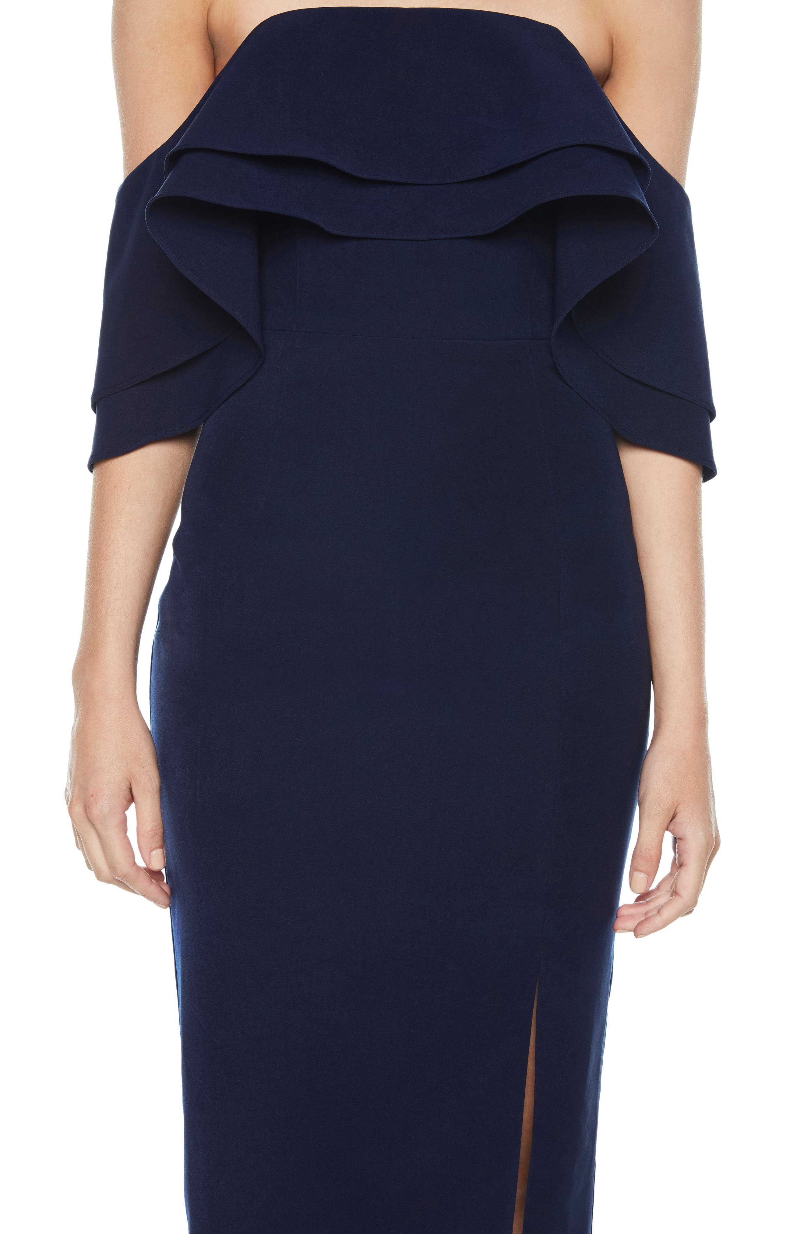 Band Ruffle Off the Shoulder Dress,                             Alternate thumbnail 5, color,                             Navy