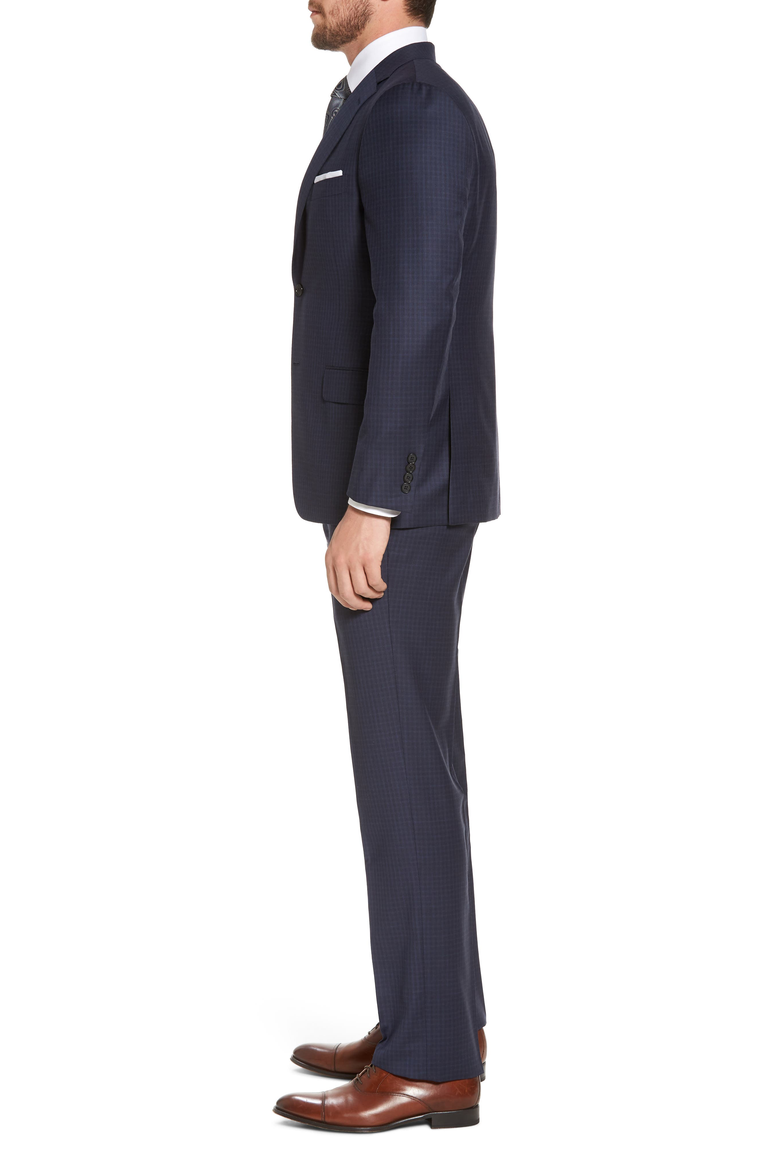 Classic B Fit Check Wool Suit,                             Alternate thumbnail 3, color,                             Navy