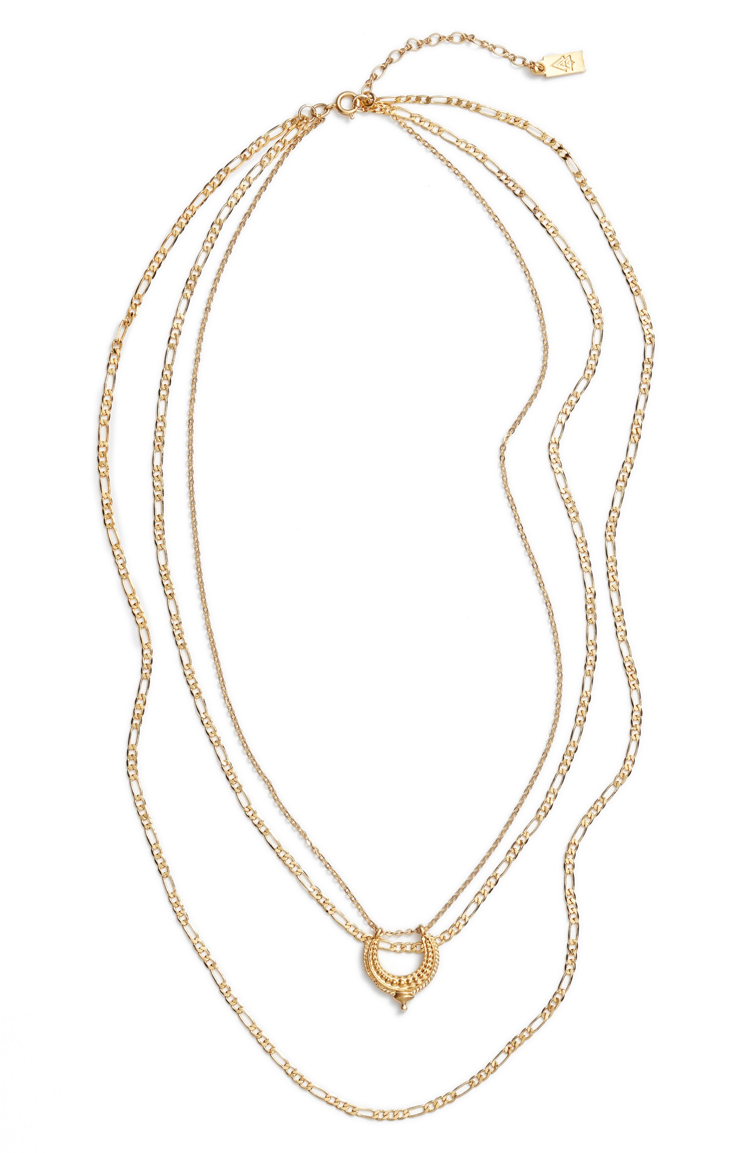 Ubud Layered Necklace,                         Main,                         color, Gold