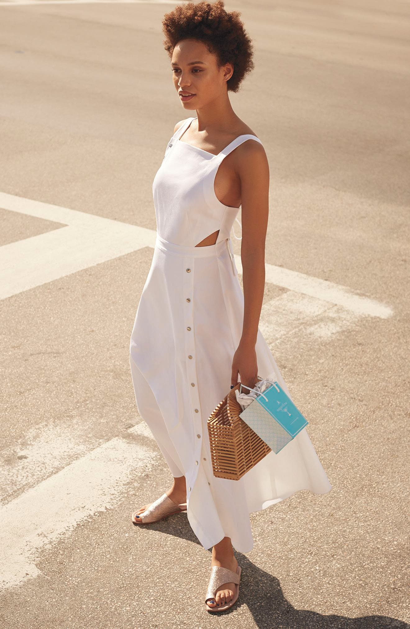 Crosby Snap Strappy Dress,                             Alternate thumbnail 4, color,                             White