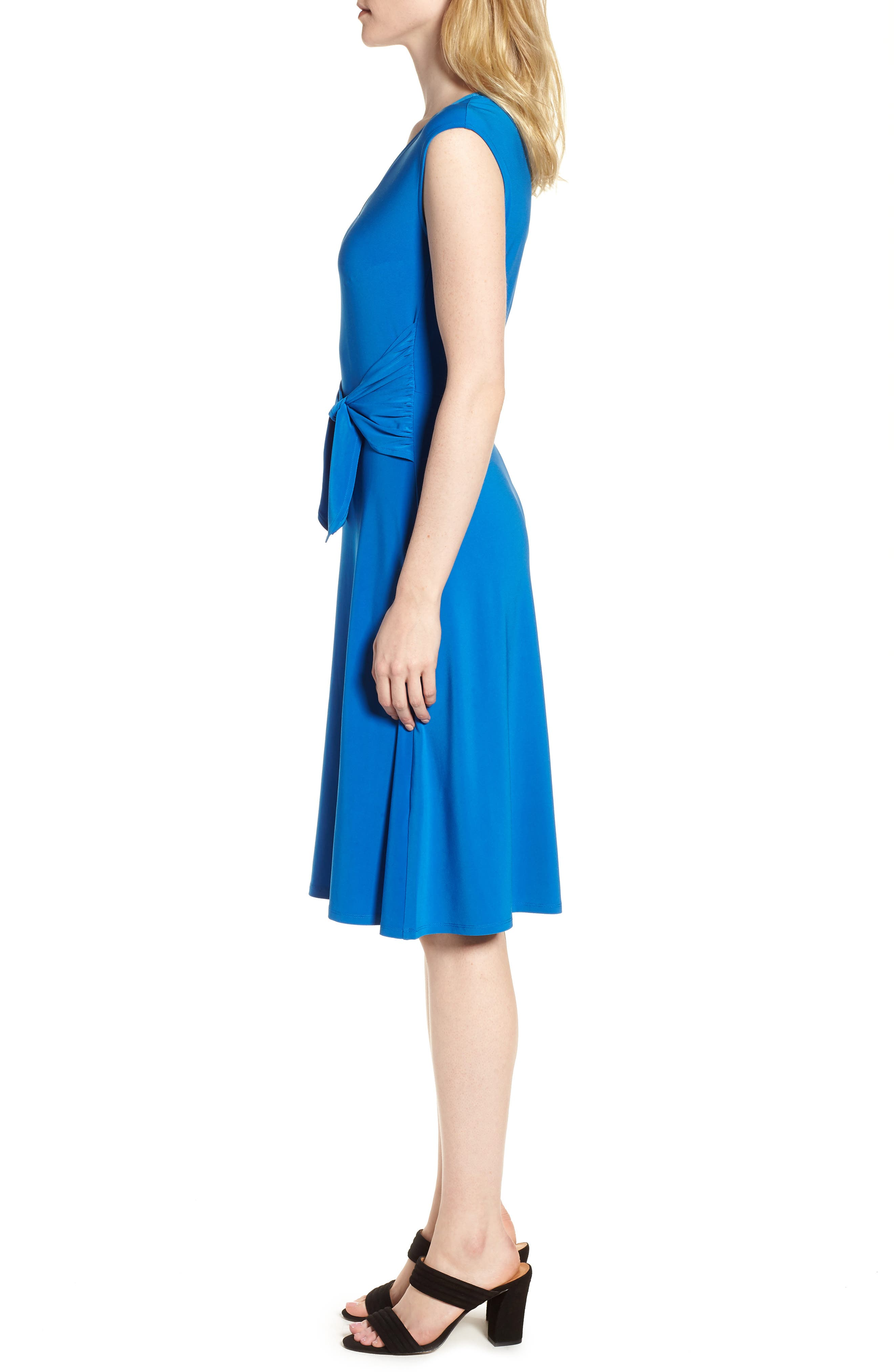 Tie Front Stretch Jersey Dress,                             Alternate thumbnail 3, color,                             Stone