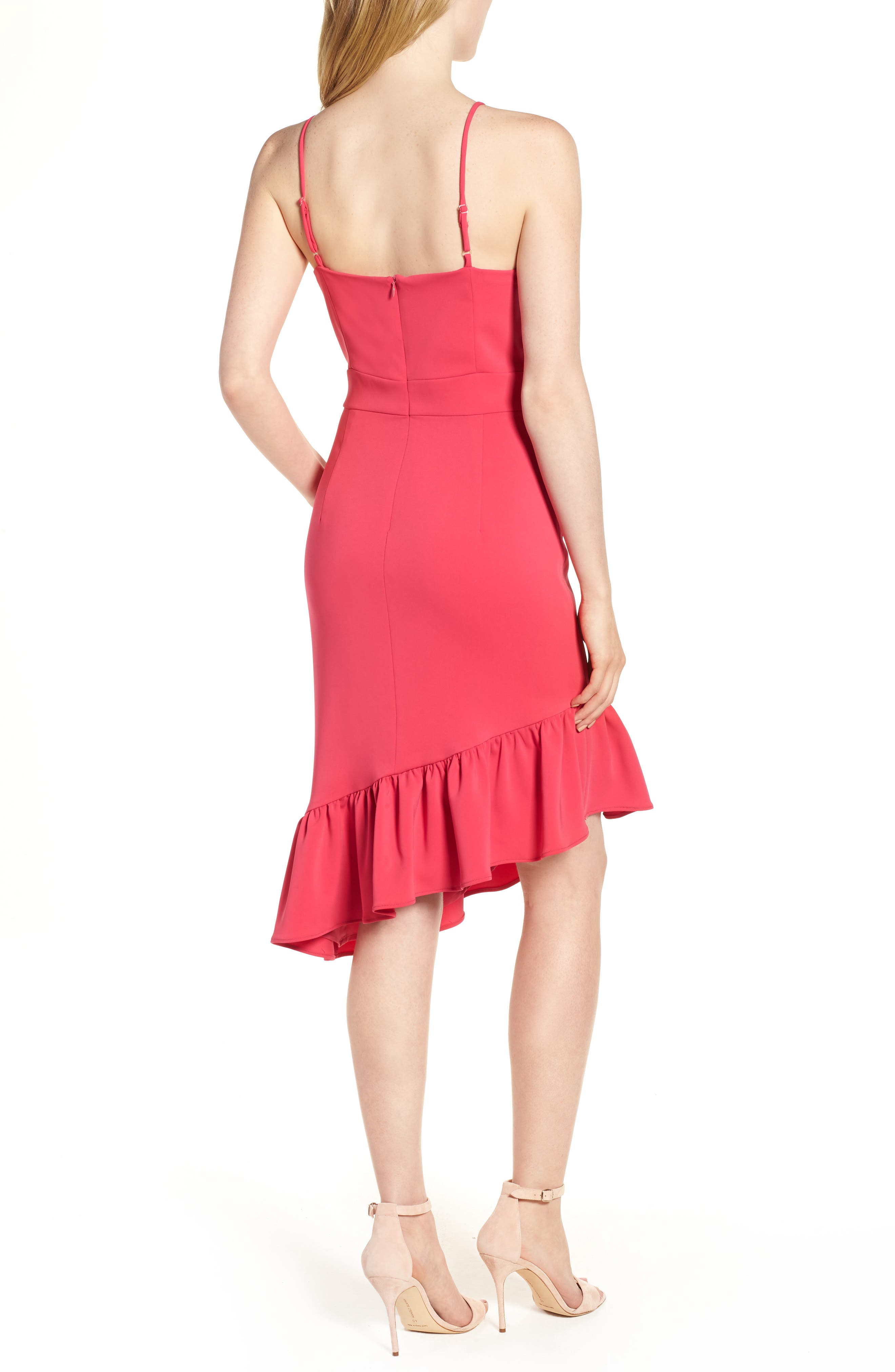 Asymmetric Ruffle Hem Dress,                             Alternate thumbnail 2, color,                             Pink Bright