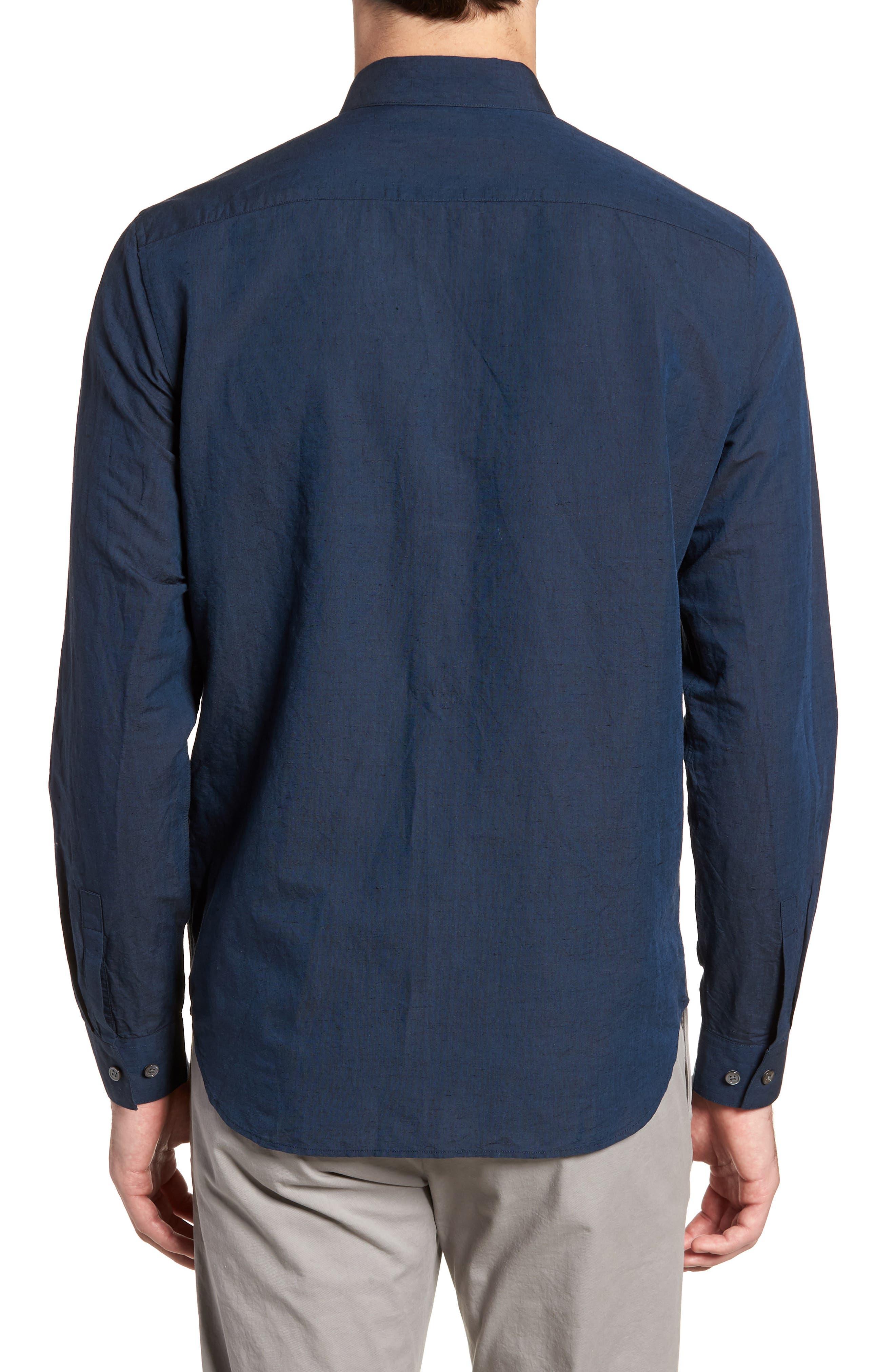Edward Regular Fit Linen & Cotton Sport Shirt,                             Alternate thumbnail 2, color,                             Finch