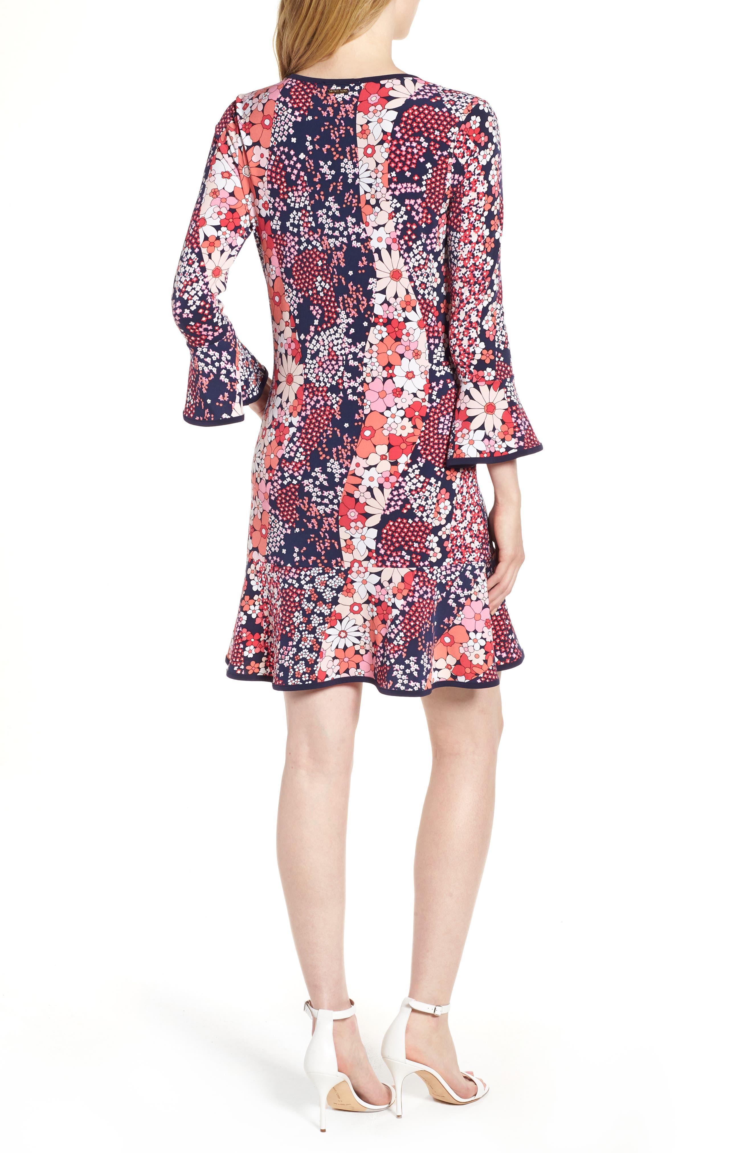 Patch Flower Flounce Dress,                             Alternate thumbnail 2, color,                             True Navy/ Bright Blush