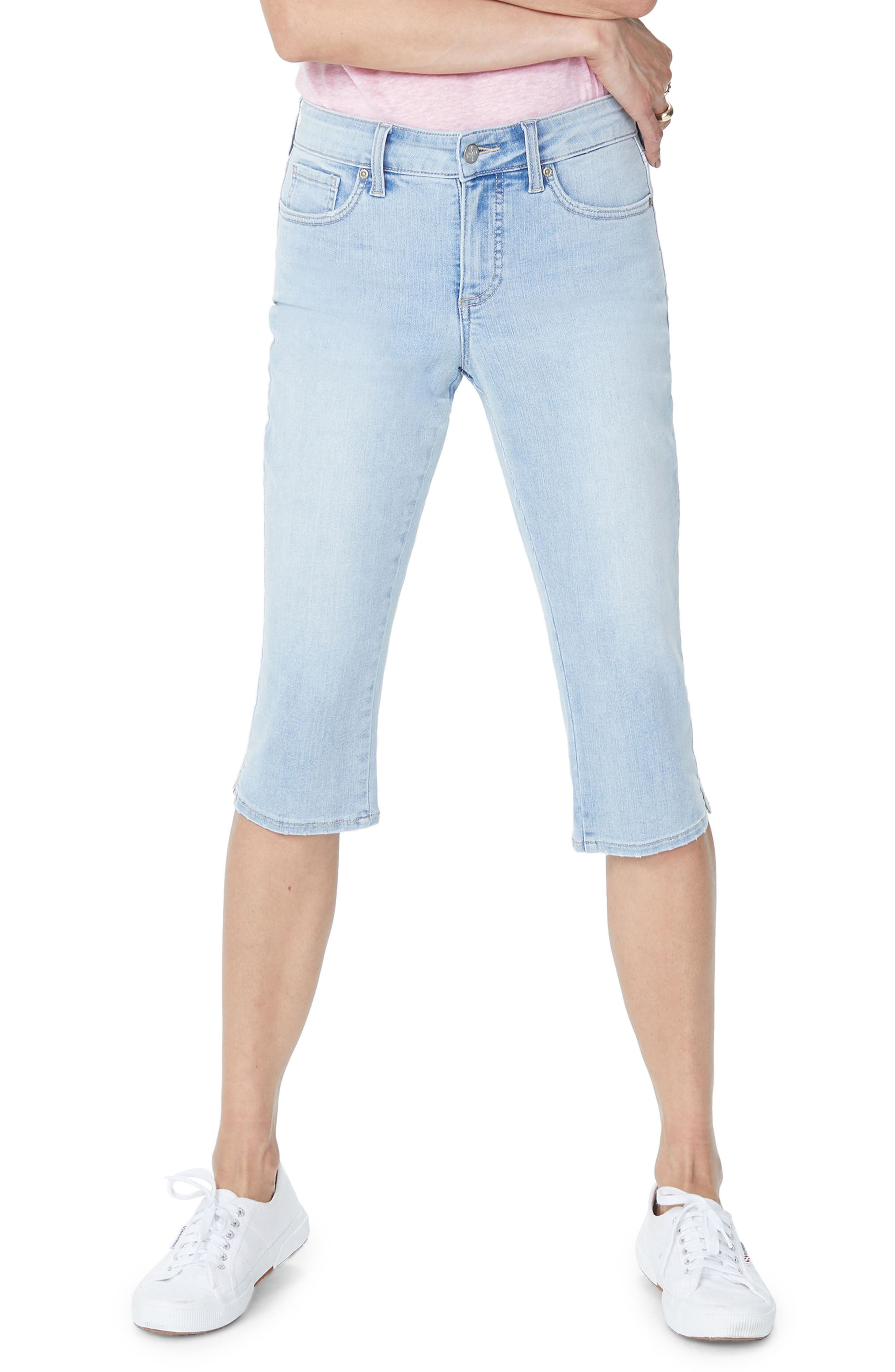 Embroidered Stretch Skinny Capri Jeans,                         Main,                         color, Clean Cloud Nine