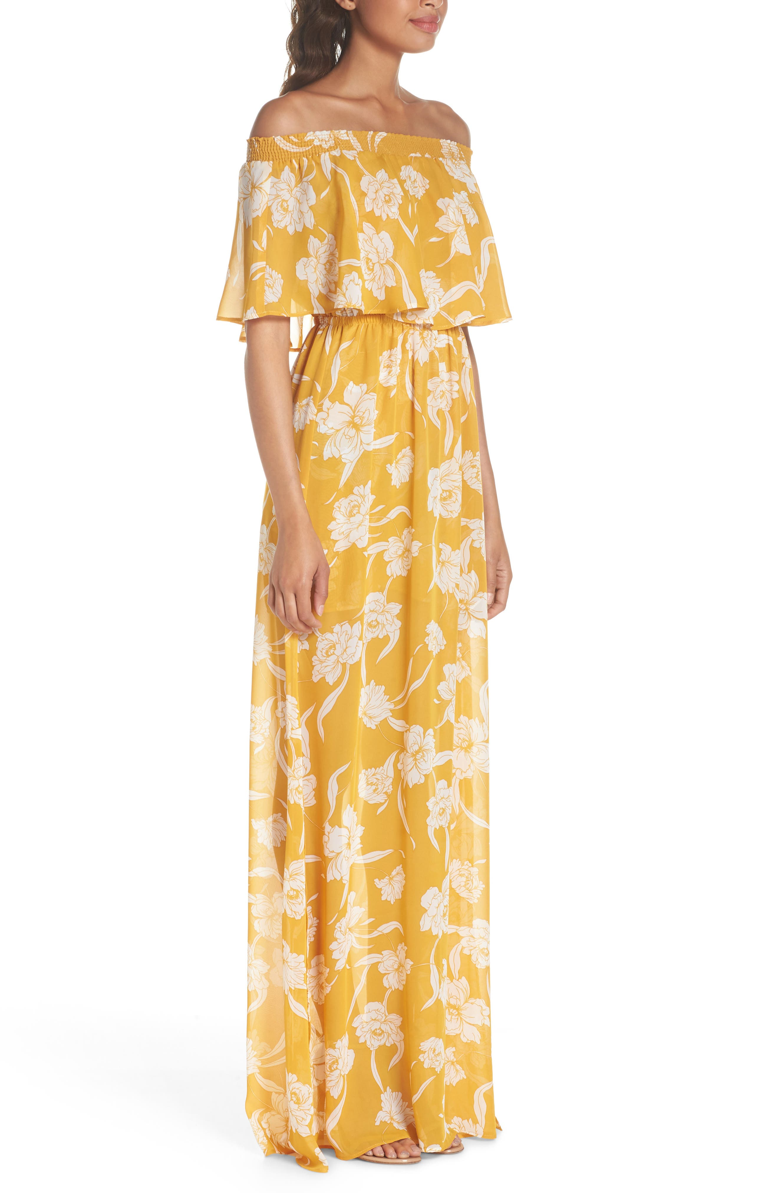 Hacienda Convertible Gown,                             Alternate thumbnail 3, color,                             Bloom Gold