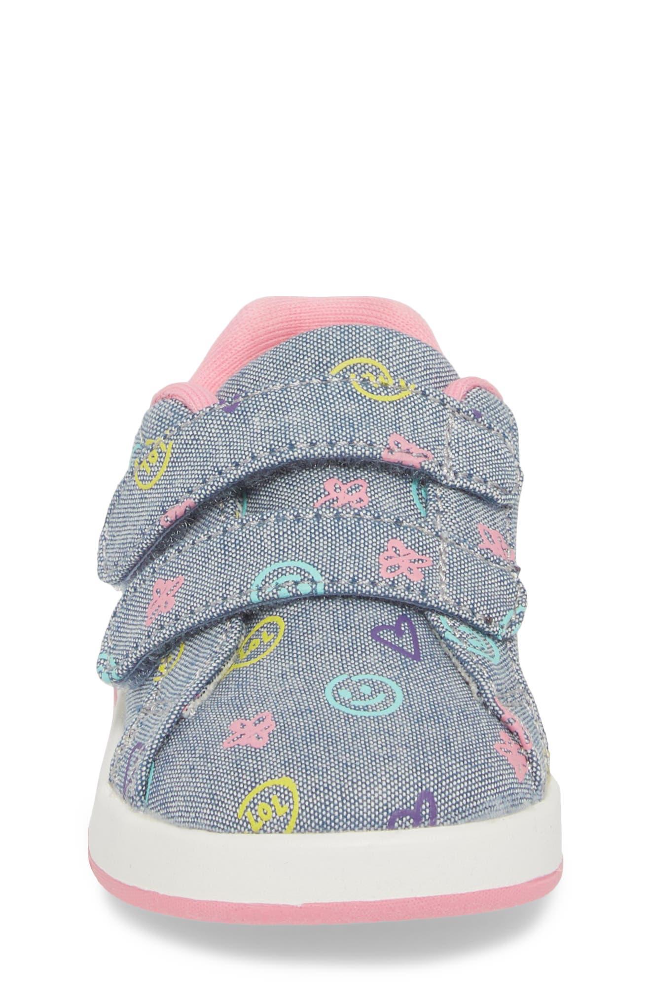 Kate Print Sneaker,                             Alternate thumbnail 4, color,                             Blue Denim Printed Fabric