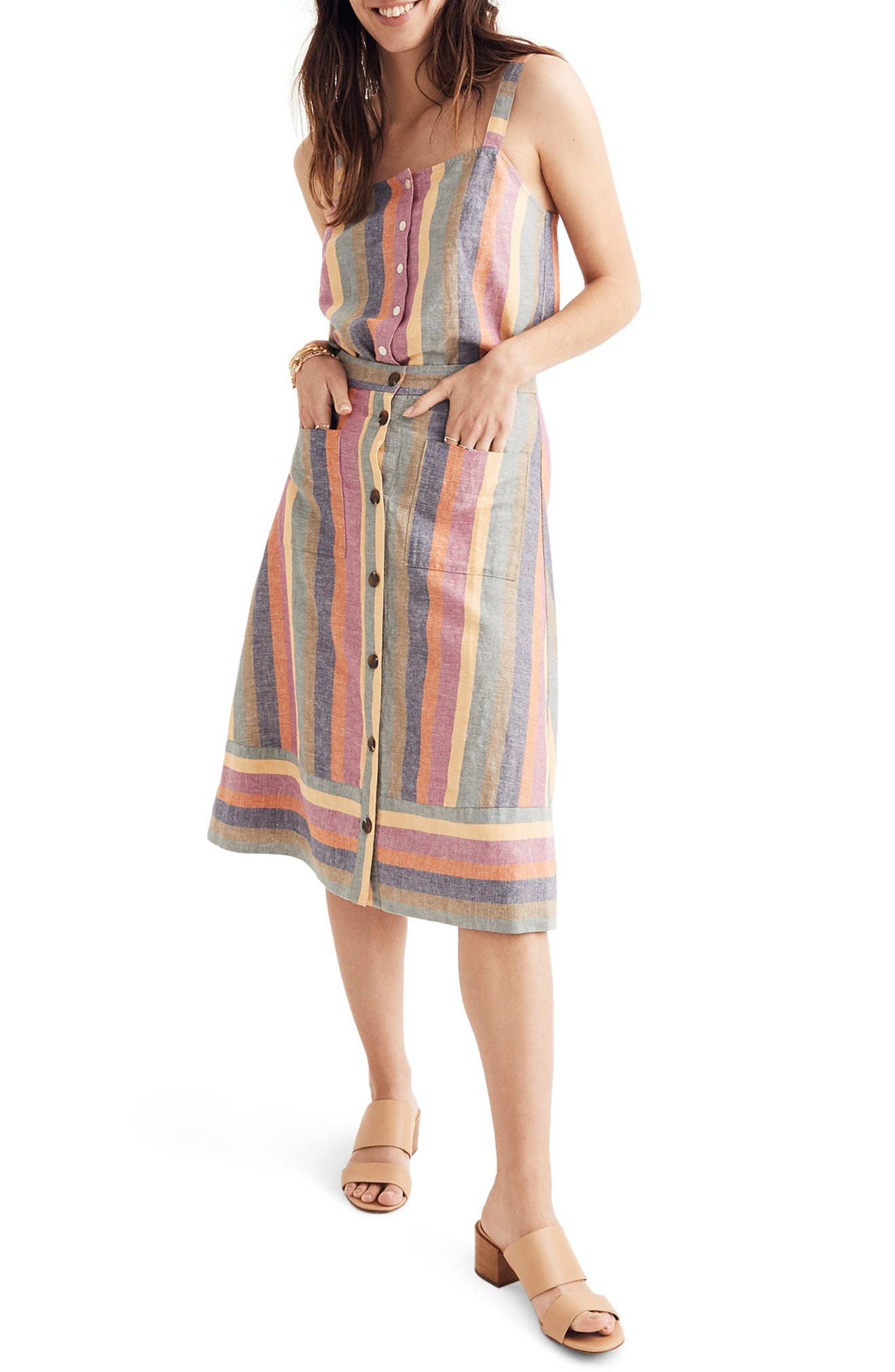 Rainbow Stripe Midi Skirt,                             Main thumbnail 1, color,                             Meadow Green