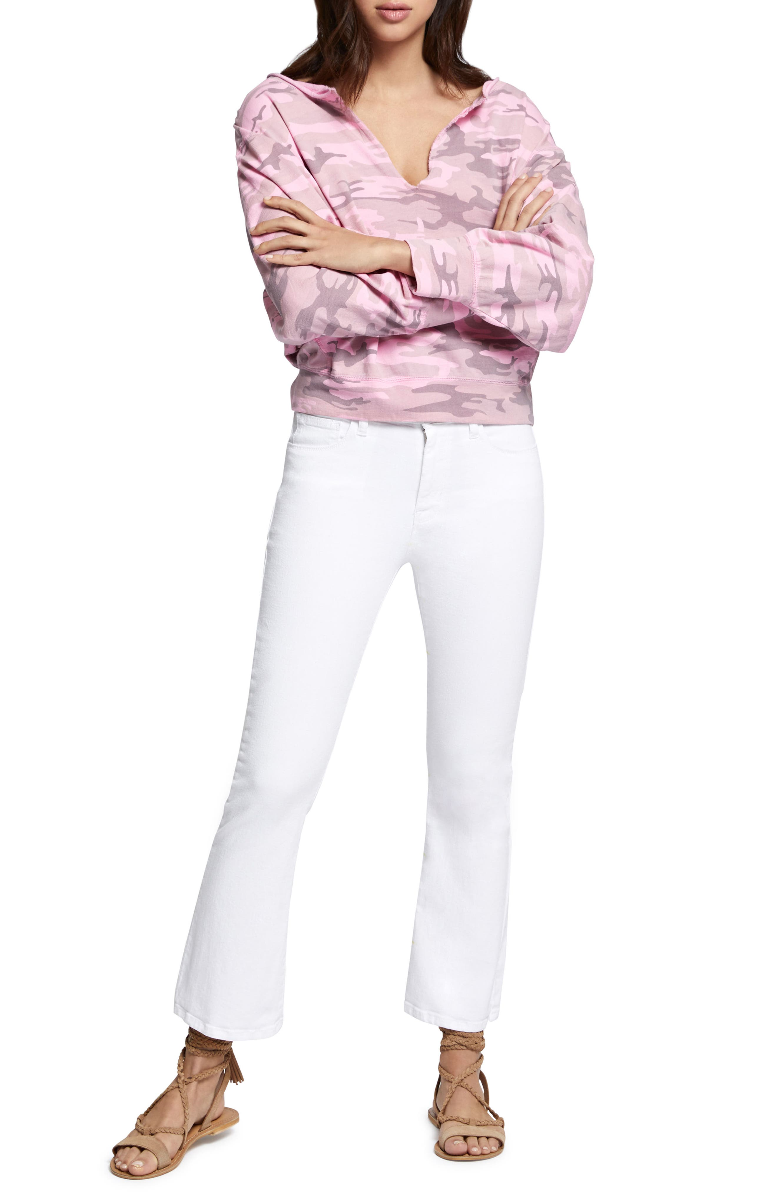 Robbie Crop Flare Jeans,                             Alternate thumbnail 4, color,                             White