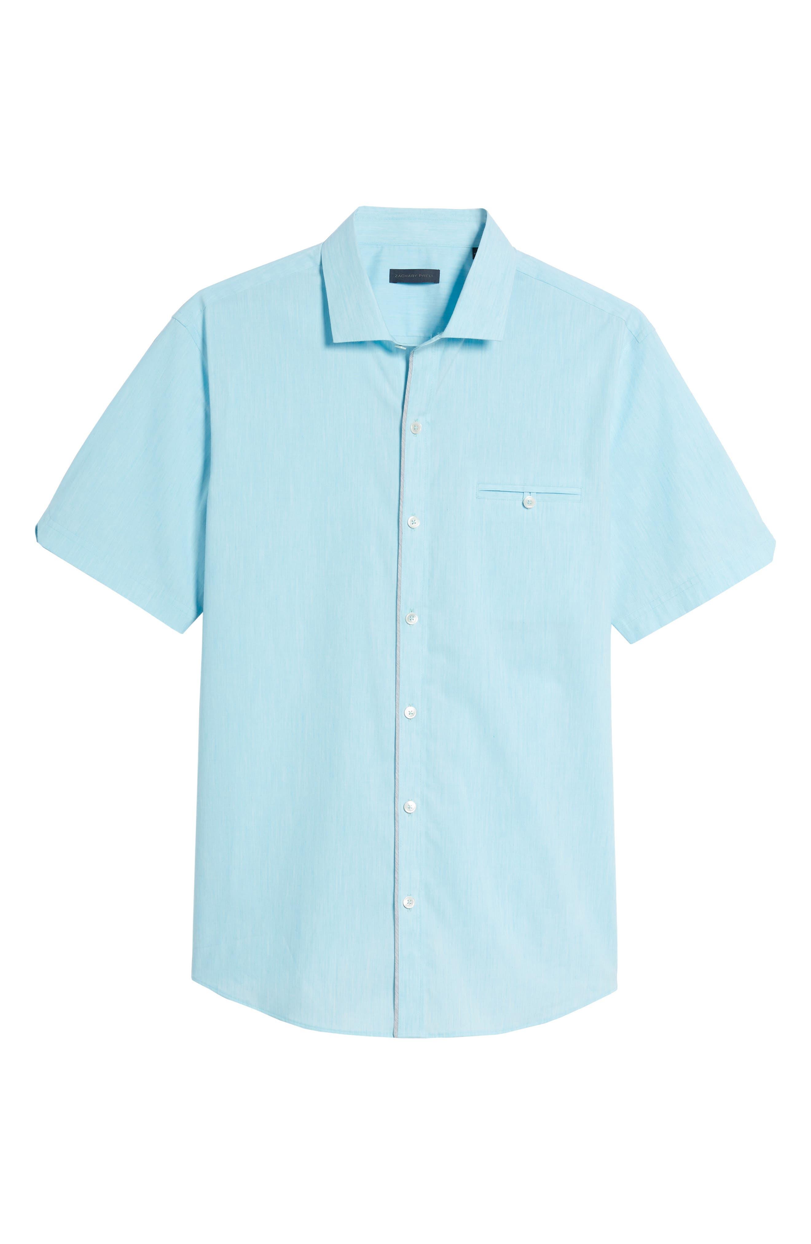 Baumann Slim Fit Sport Shirt,                             Alternate thumbnail 6, color,                             Aqua