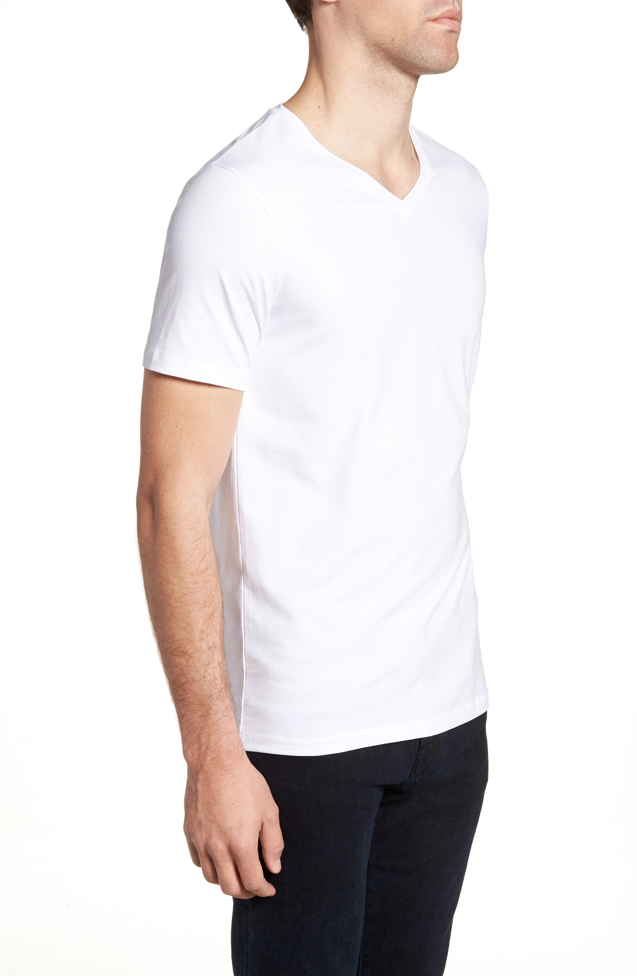 HUGO Dandre Slim Fit V-Neck T-Shirt,                             Alternate thumbnail 3, color,                             White