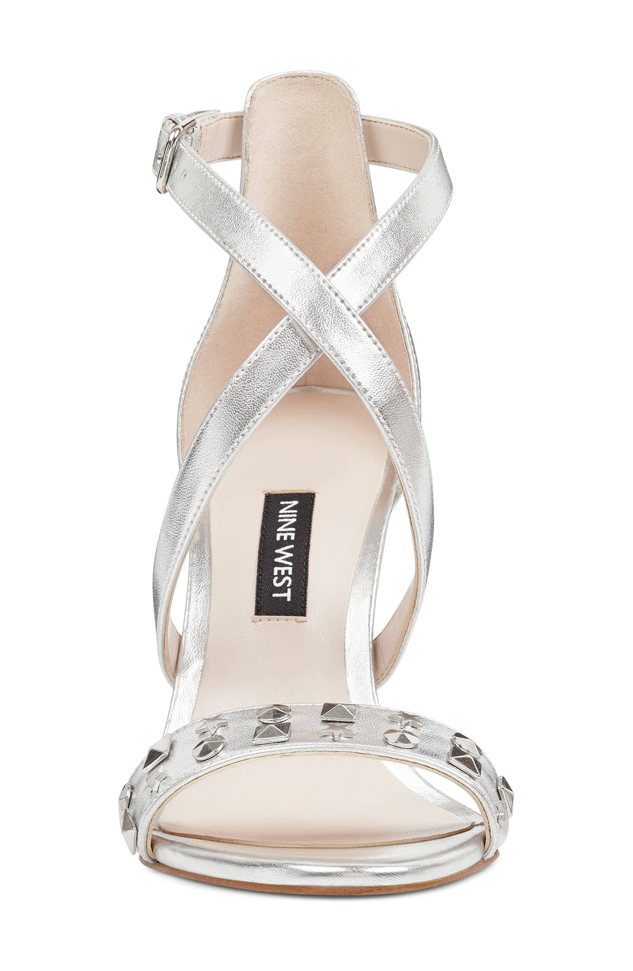 Maziany Studded Sandal,                             Alternate thumbnail 4, color,                             Silver Faux Leather