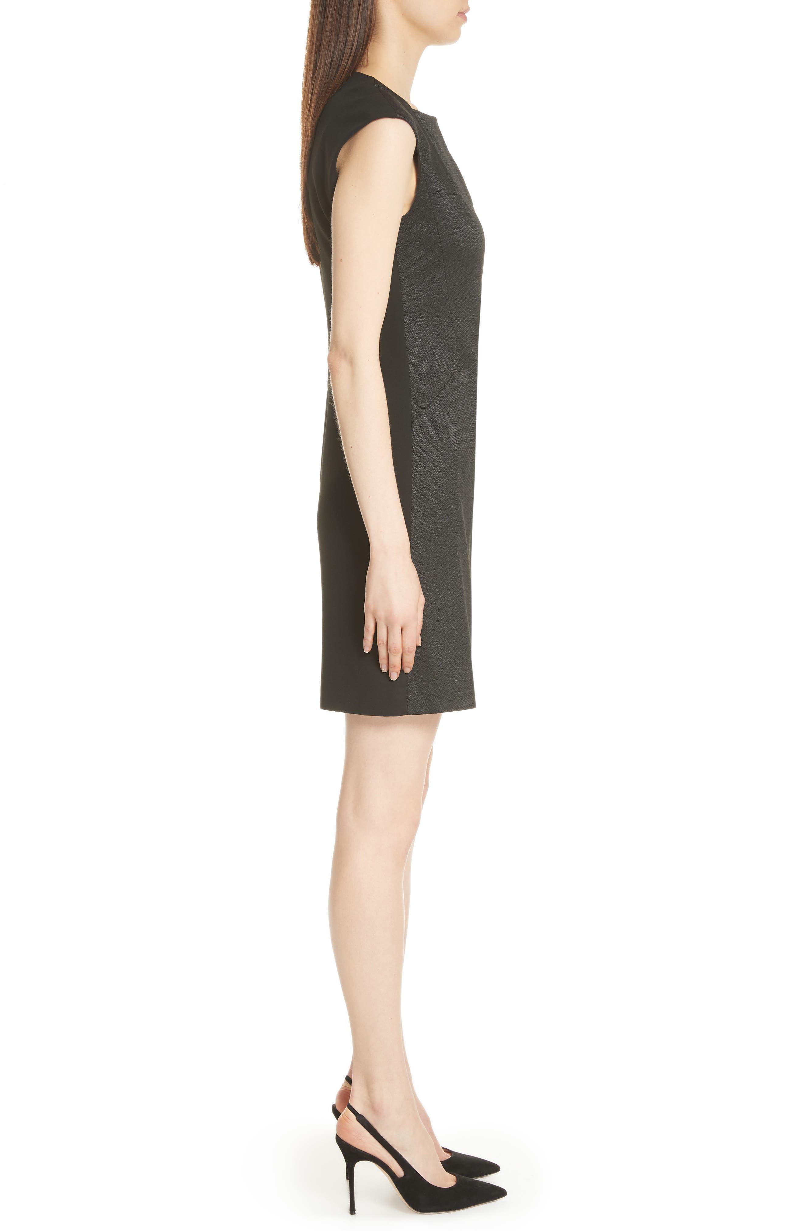 Zip Front A-Line Dress,                             Alternate thumbnail 3, color,                             Black
