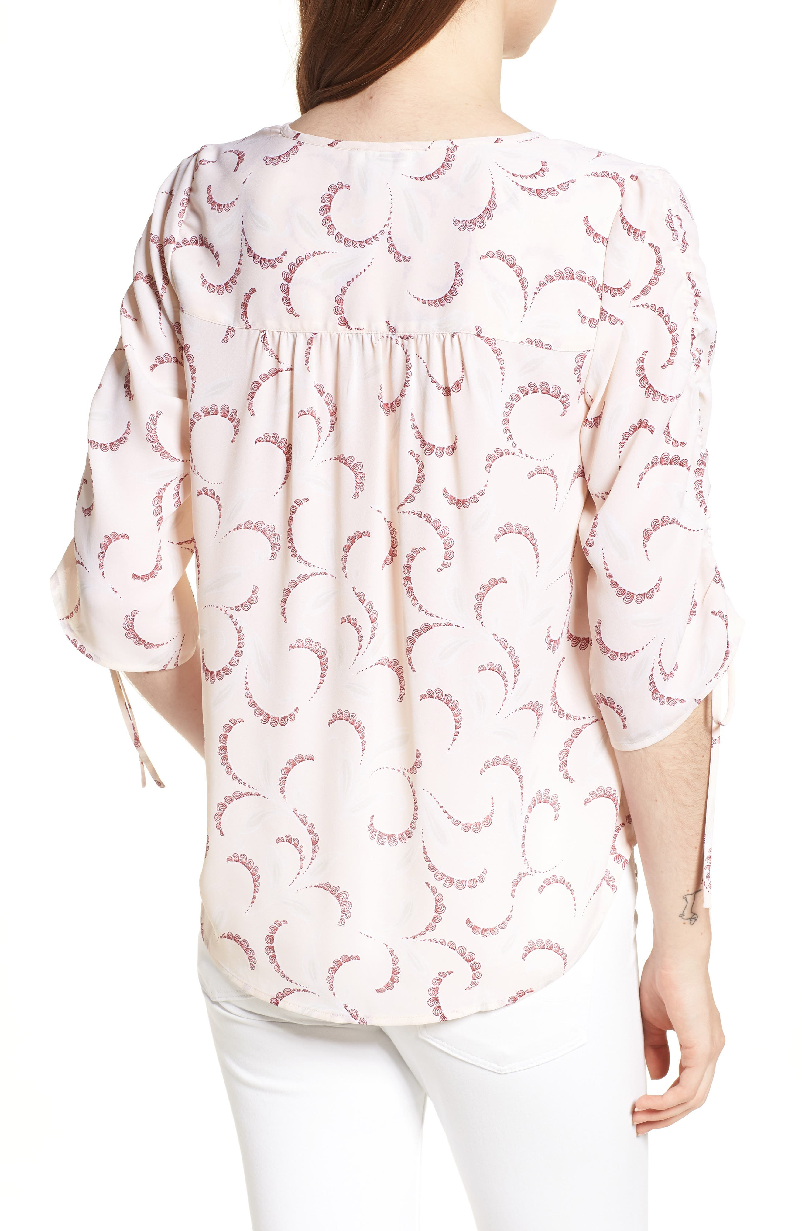 Print Ruched Sleeve Top,                             Alternate thumbnail 2, color,                             Pink Peony Bud Soft Swirls