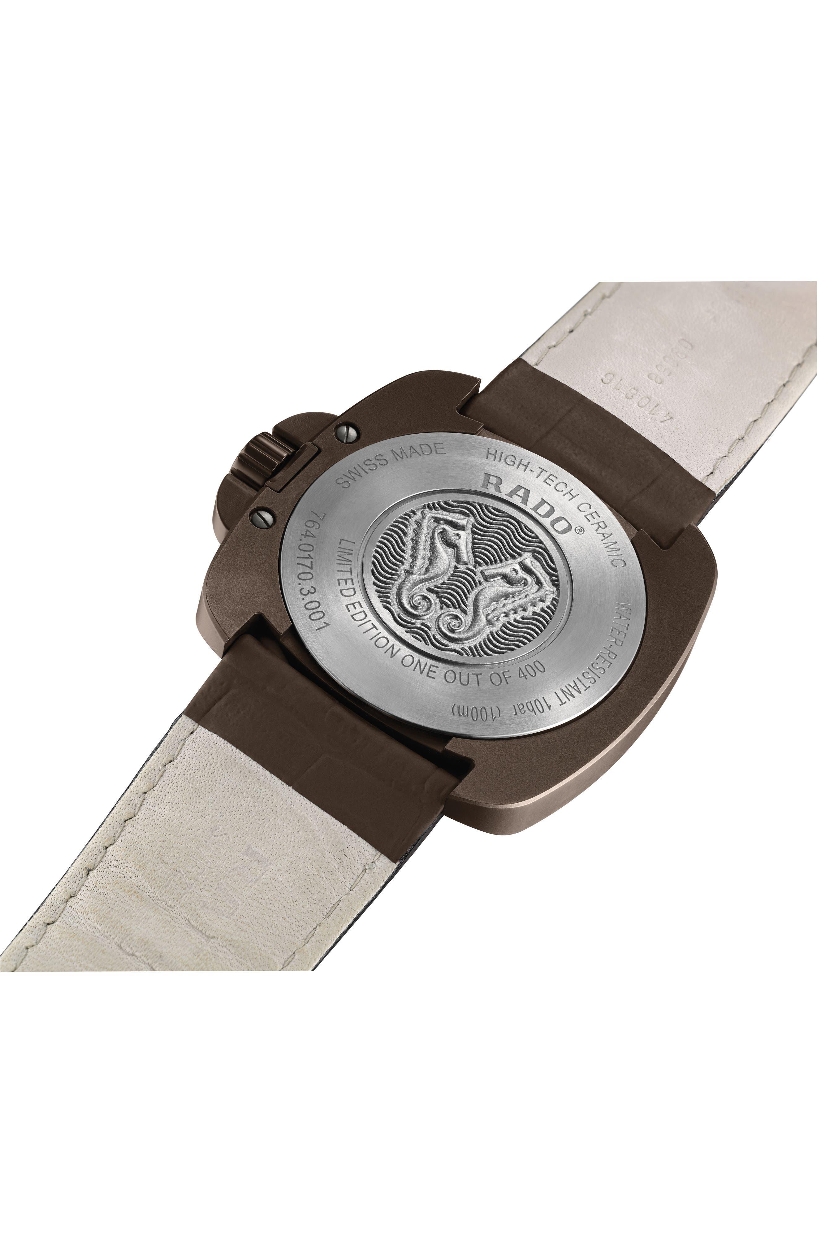 Alternate Image 2  - RADO HyperChrome 1616 Automatic Leather Strap Watch, 46mm