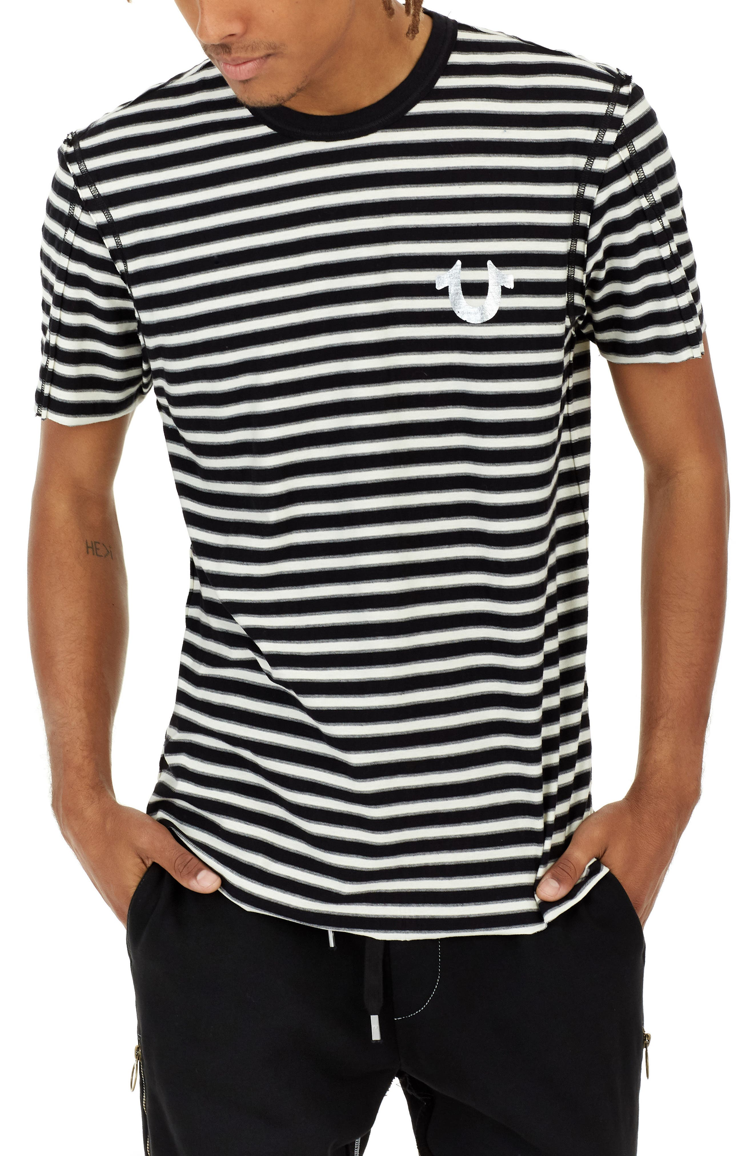 True Religion Brand Jeans Raw Edge Stripe T-Shirt