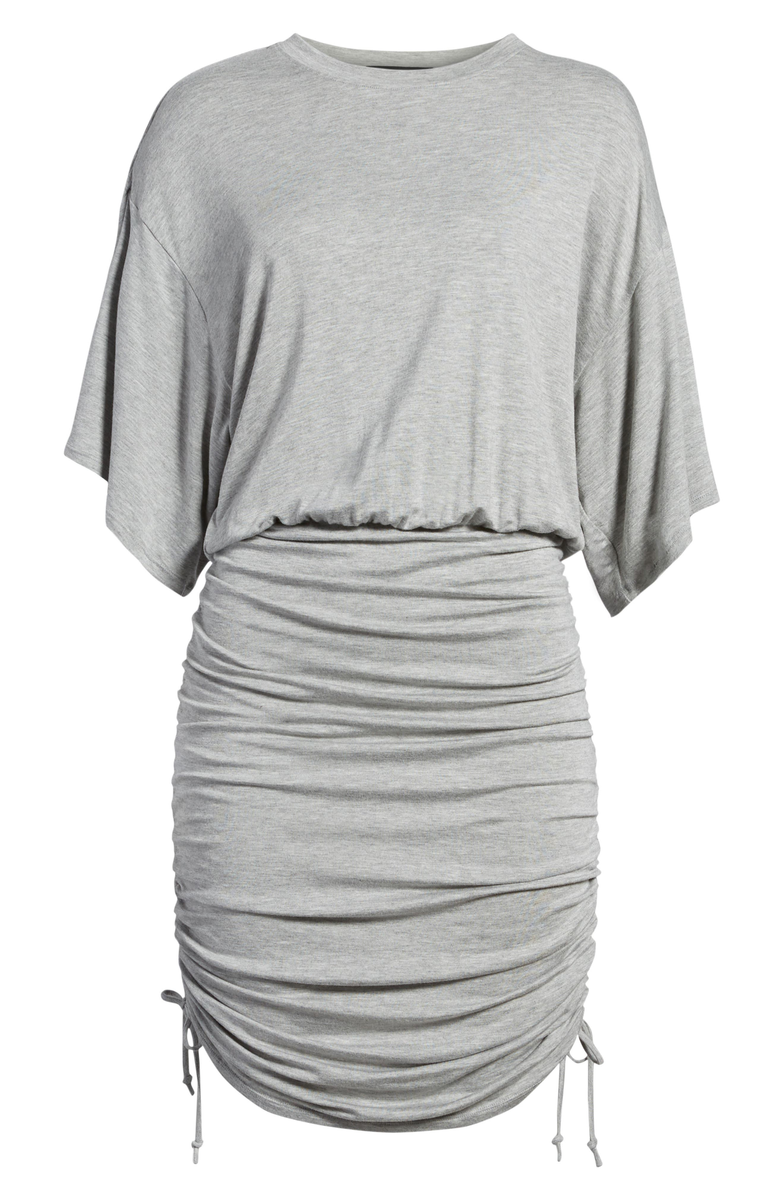 Short Sleeve Ruched Dress,                             Alternate thumbnail 7, color,                             Heather Grey