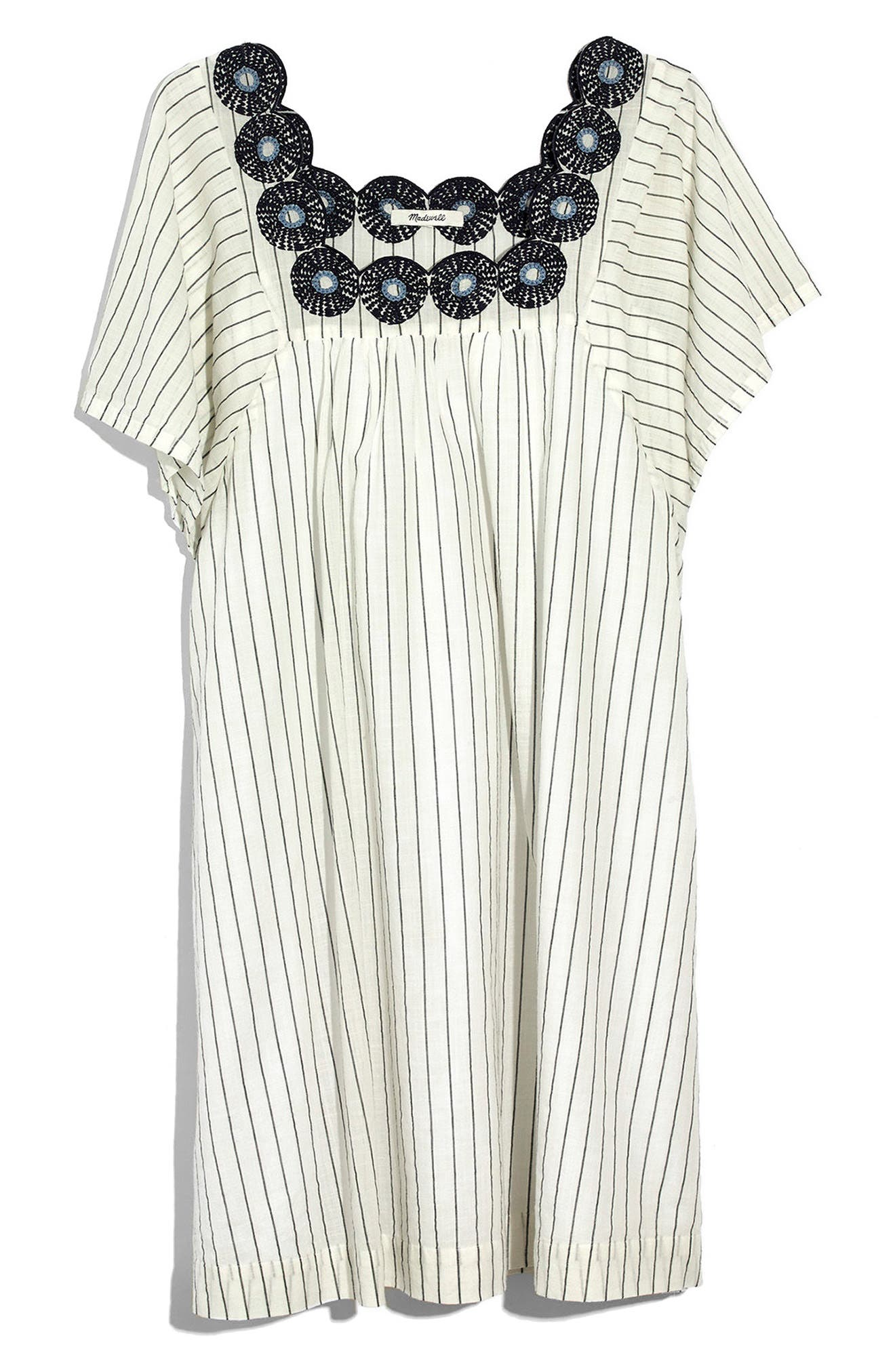 Stripe Embroidered Butterfly Dress,                             Alternate thumbnail 3, color,                             Dark Metal