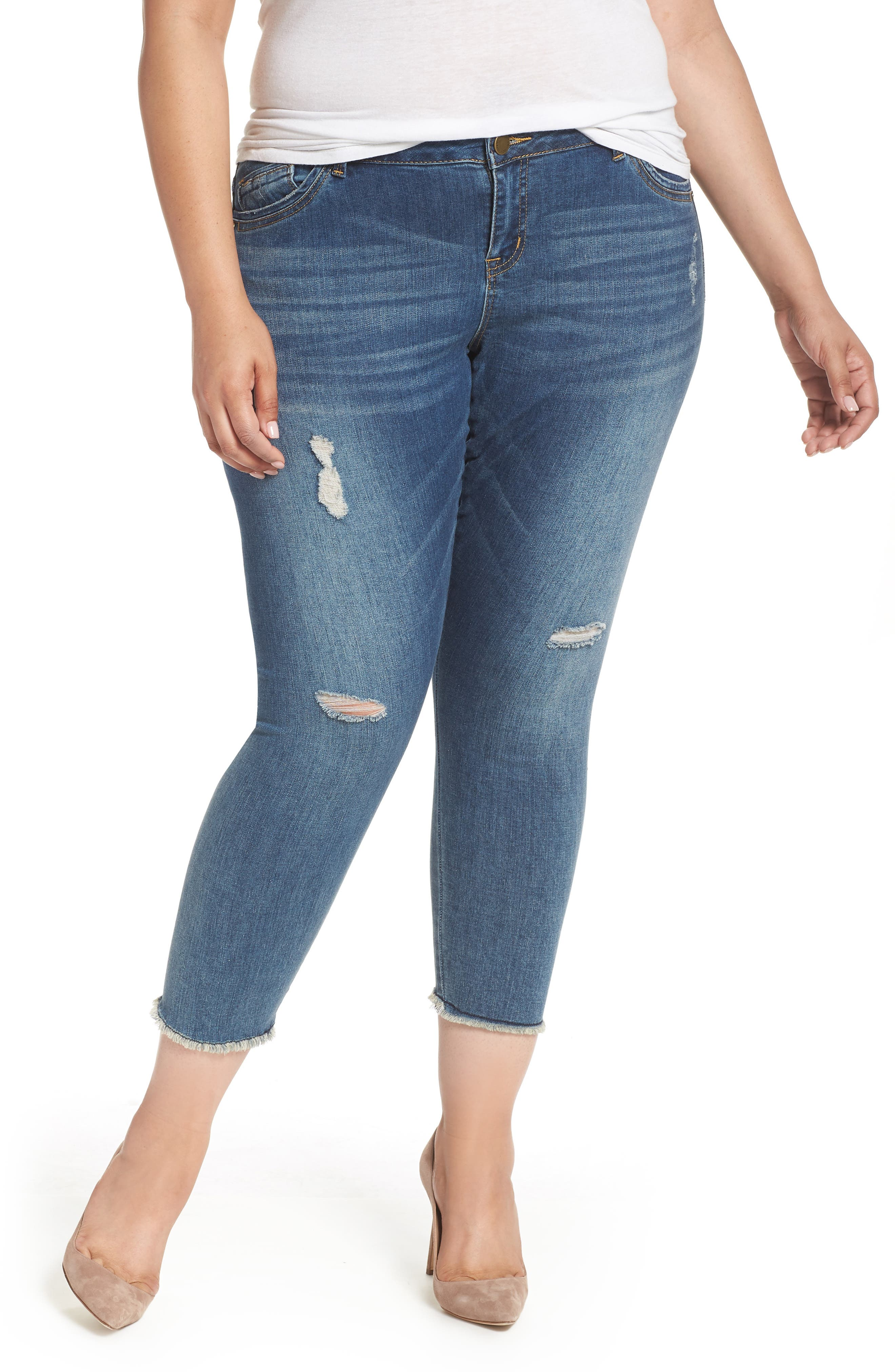 Seamless Ankle Skimmer Jeans,                         Main,                         color, Blue