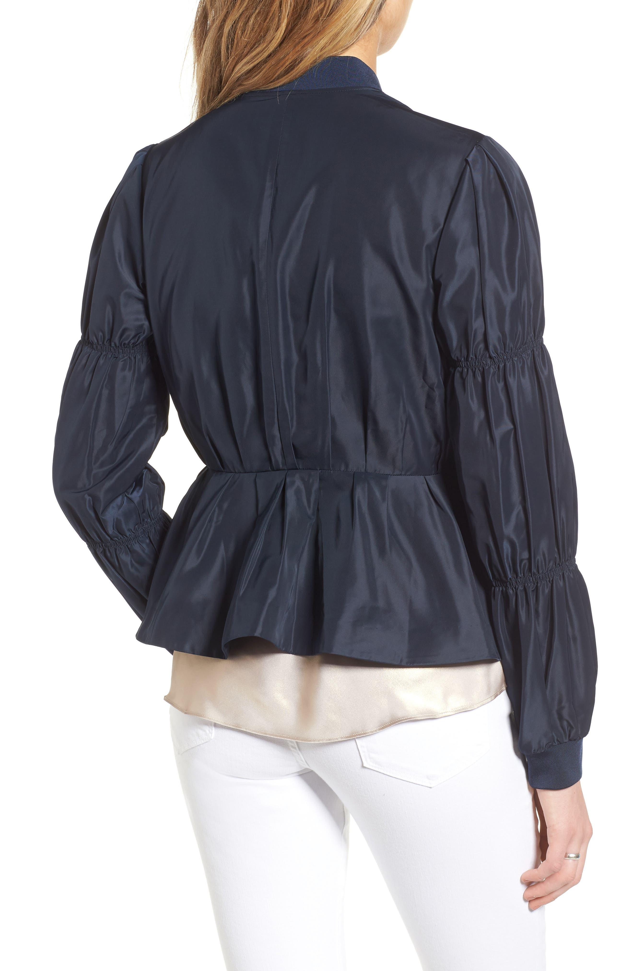 Puff Sleeve Taffeta Crop Jacket,                             Alternate thumbnail 2, color,                             Navy Eclipse