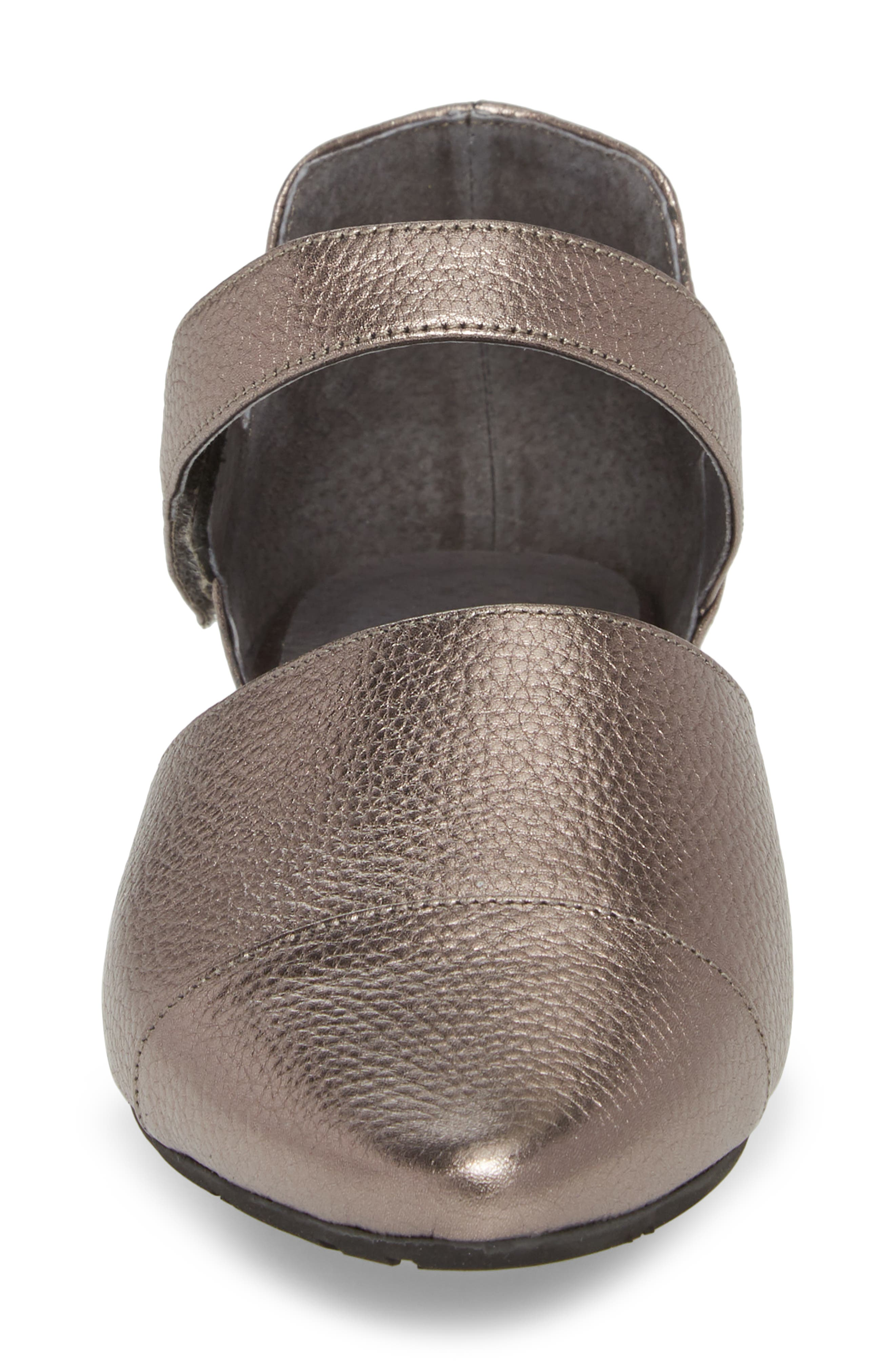 Gaia Pointy Toe Flat,                             Alternate thumbnail 4, color,                             Gunmetal Leather
