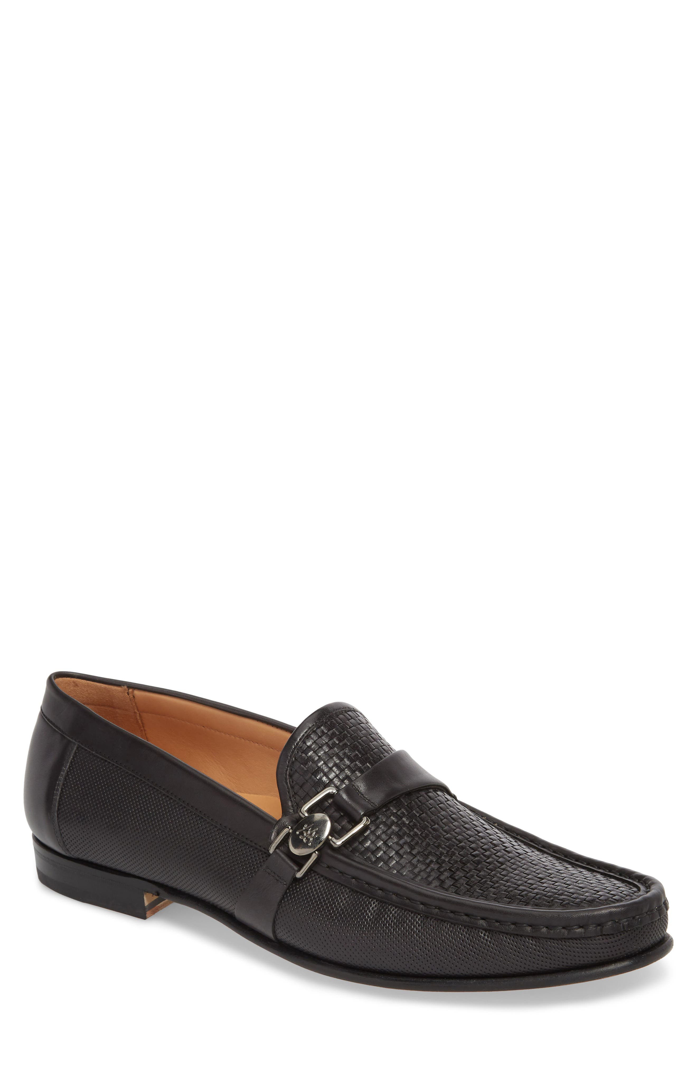 Horatio Woven Moc Toe Loafer,                             Main thumbnail 1, color,                             Black Leather