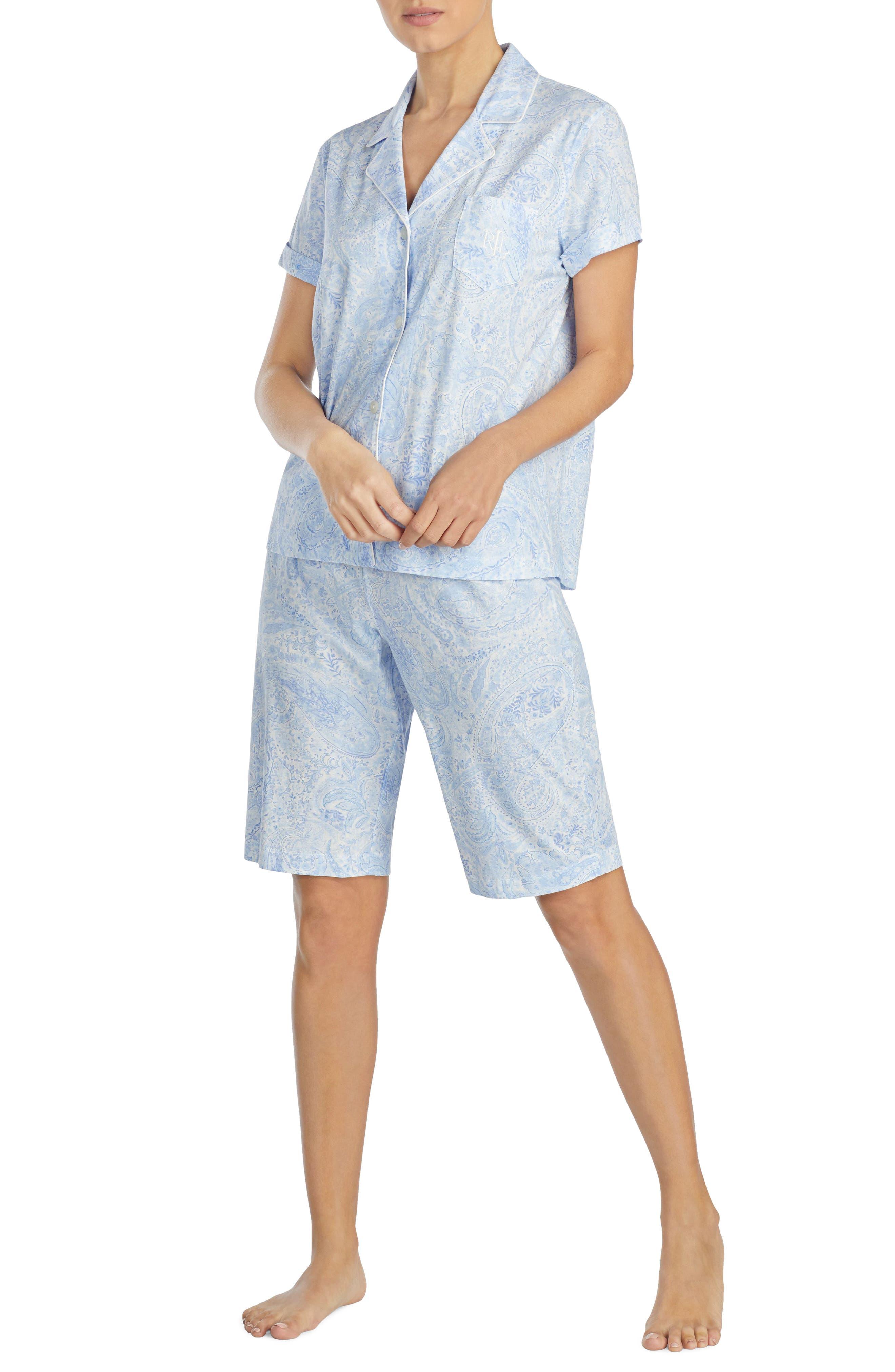 Short Pajamas,                         Main,                         color, Blue Print