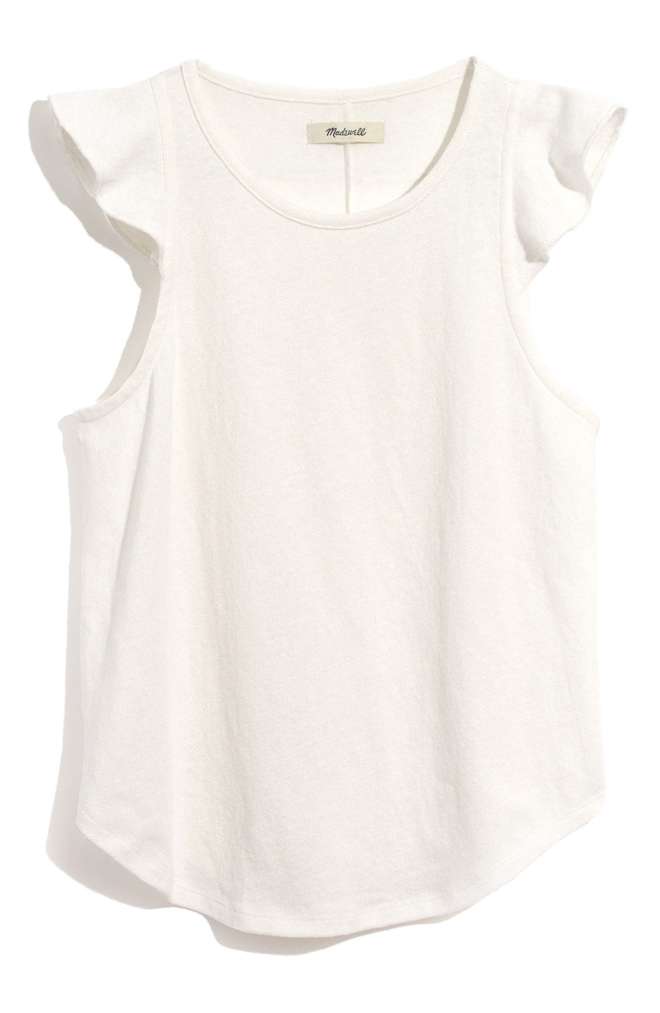 Ruffle Sleeve Tank,                             Alternate thumbnail 3, color,                             White Wash