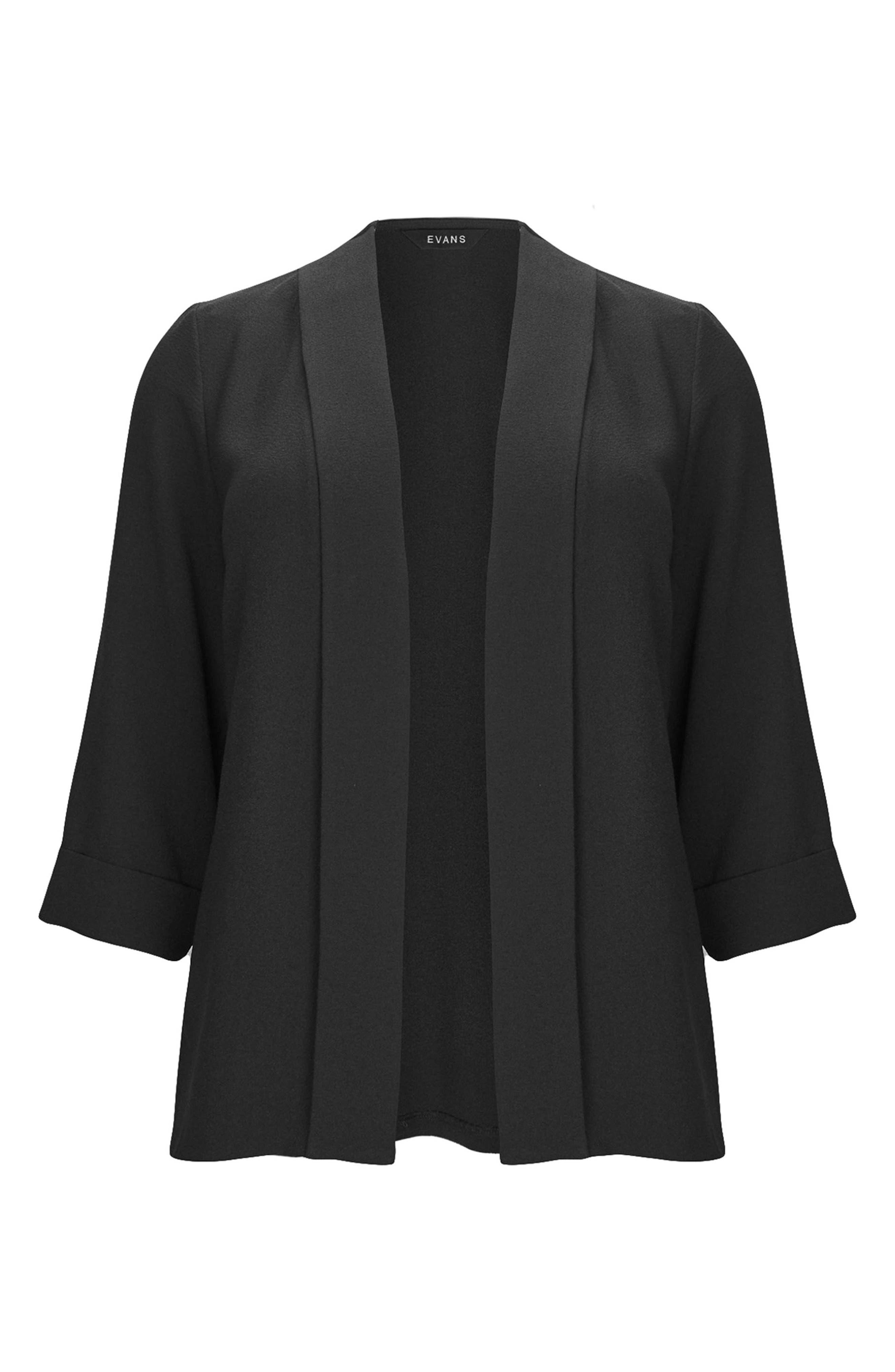 Three-Quarter Sleeve Open Front Jacket,                             Alternate thumbnail 3, color,                             Black