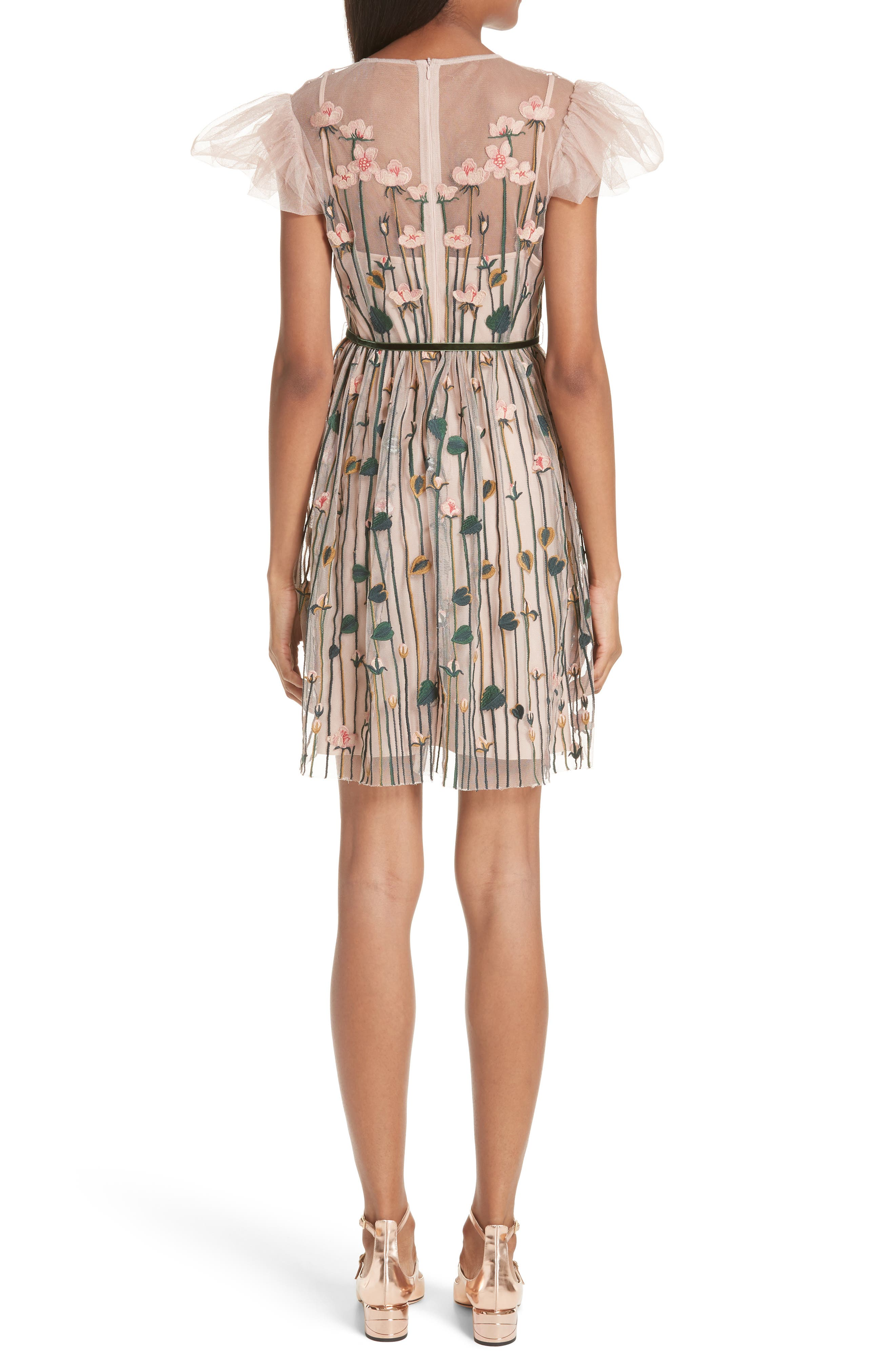 Floral Embroidered Dress,                             Alternate thumbnail 2, color,                             Nude
