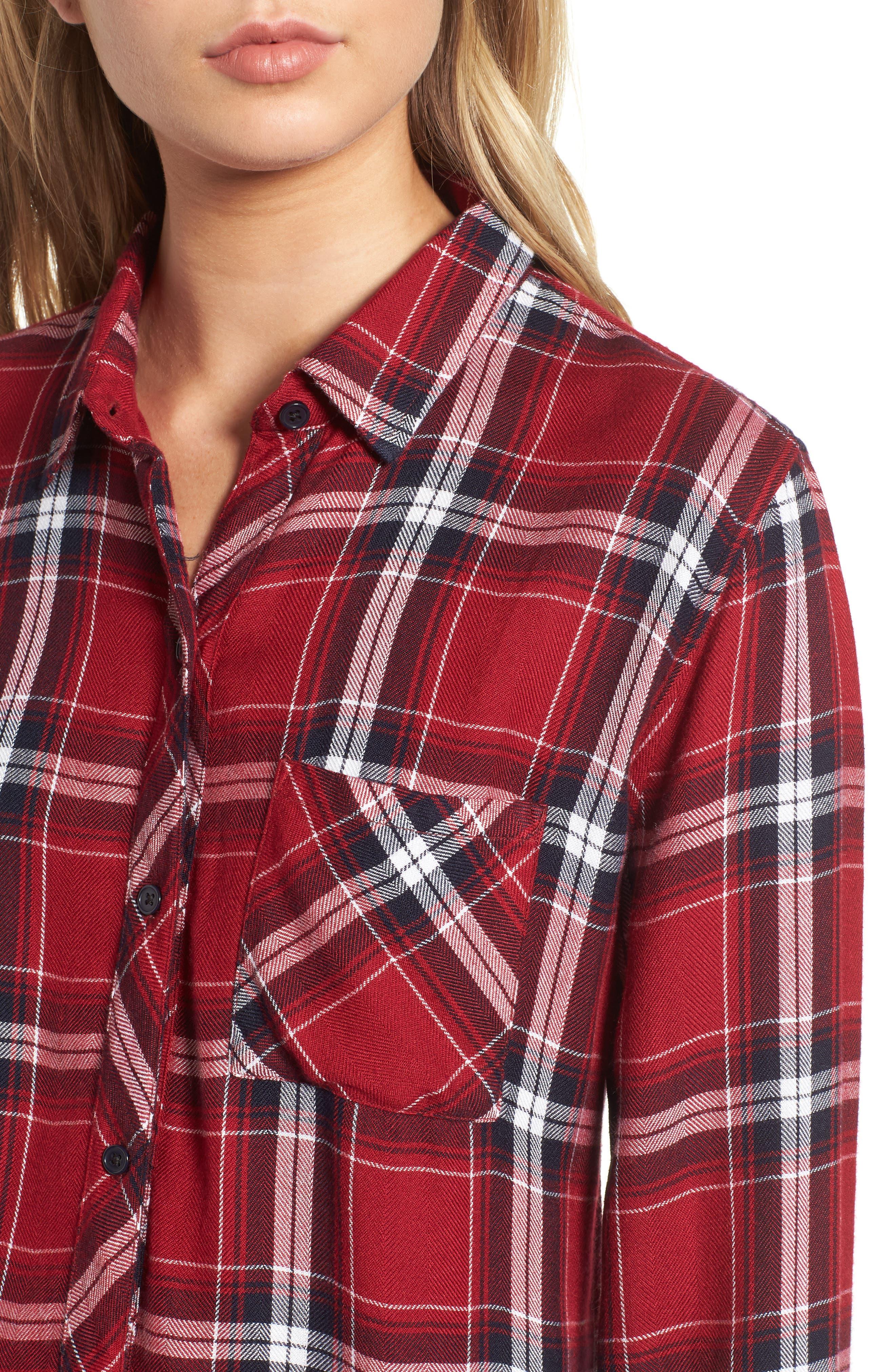 Hunter Plaid Shirt,                             Alternate thumbnail 4, color,                             Cranberry Ink White