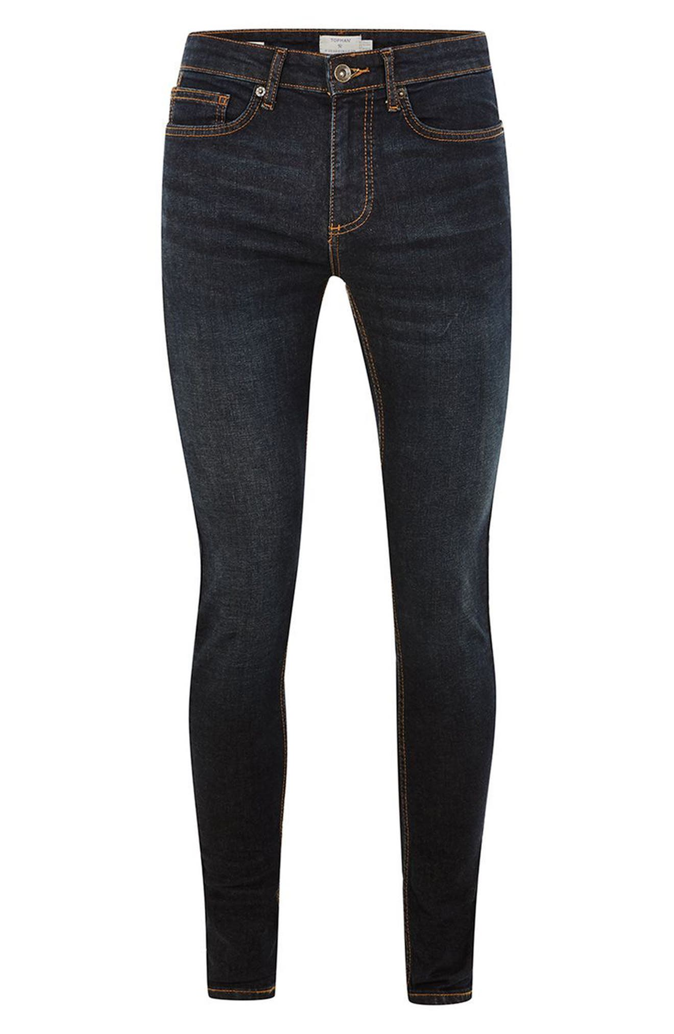 Spray On Skinny Fit Jeans,                             Alternate thumbnail 4, color,                             Blue