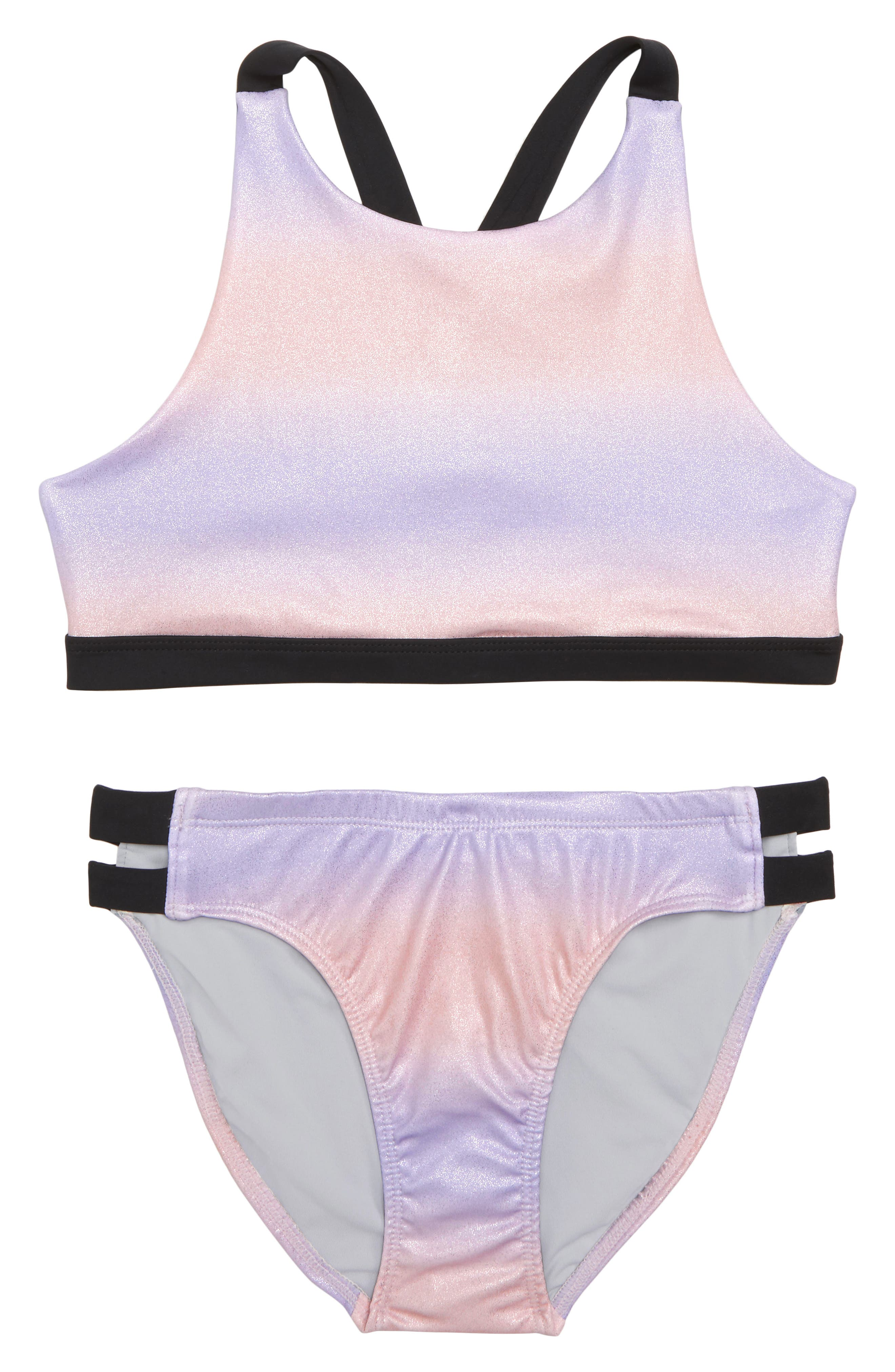 Strappy Sparkle Two-Piece Swimsuit,                             Main thumbnail 1, color,                             Pink Sunset Metallic