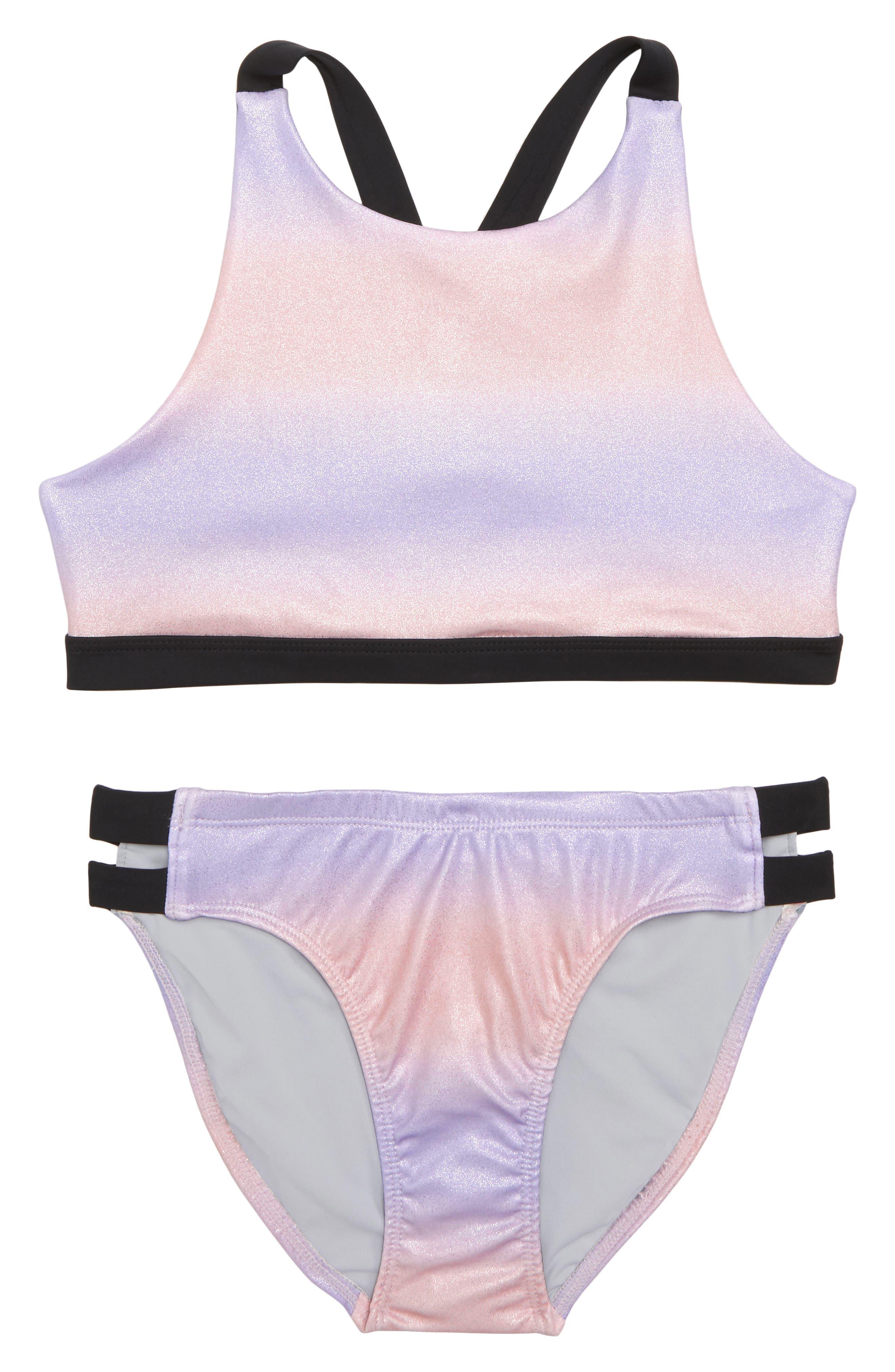 Zella Girl Strappy Sparkle Two-Piece Swimsuit (Big Girls)