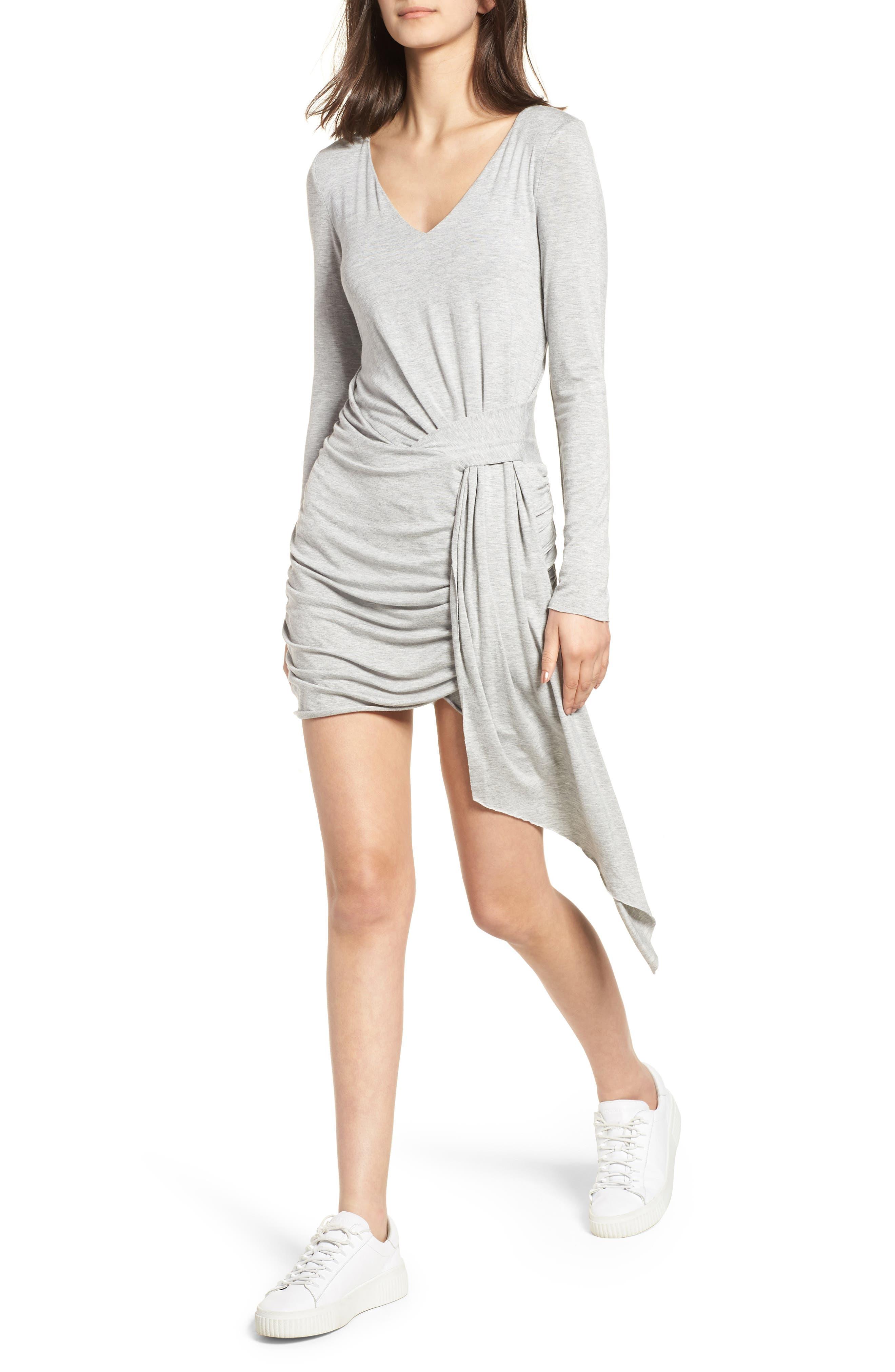 V-Neck Dress,                         Main,                         color, Heather Grey