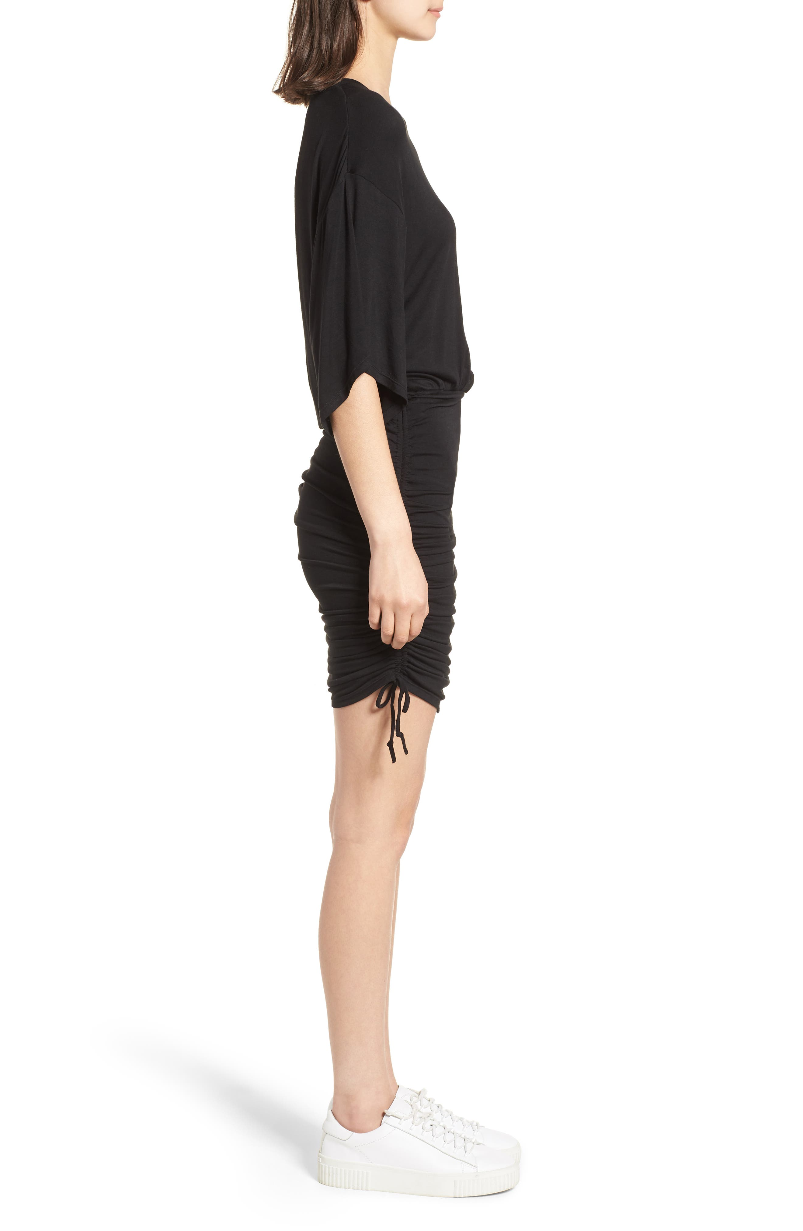 Short Sleeve Ruched Dress,                             Alternate thumbnail 3, color,                             Black