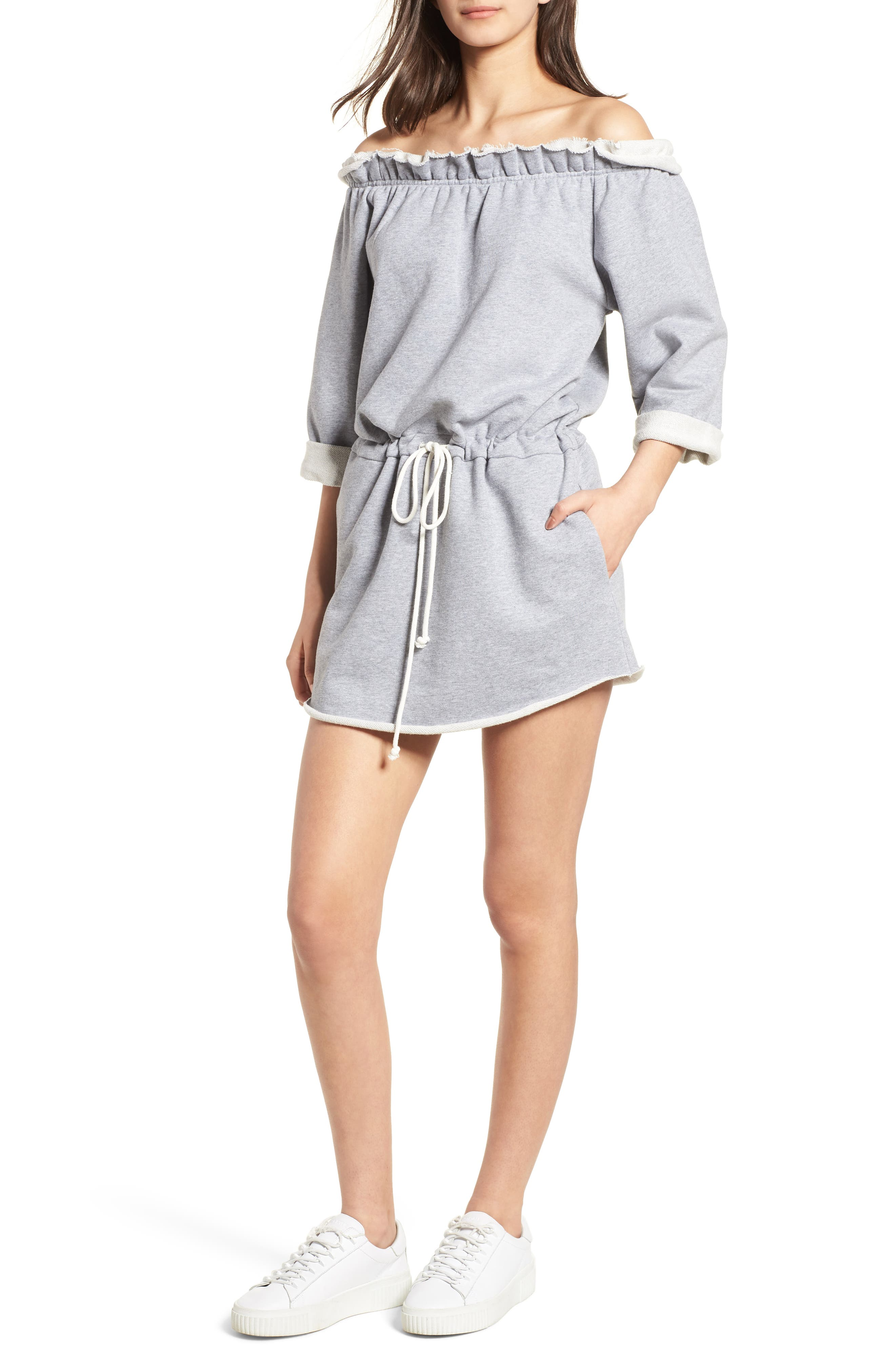Off the Shoulder Dress,                         Main,                         color, Heather Grey