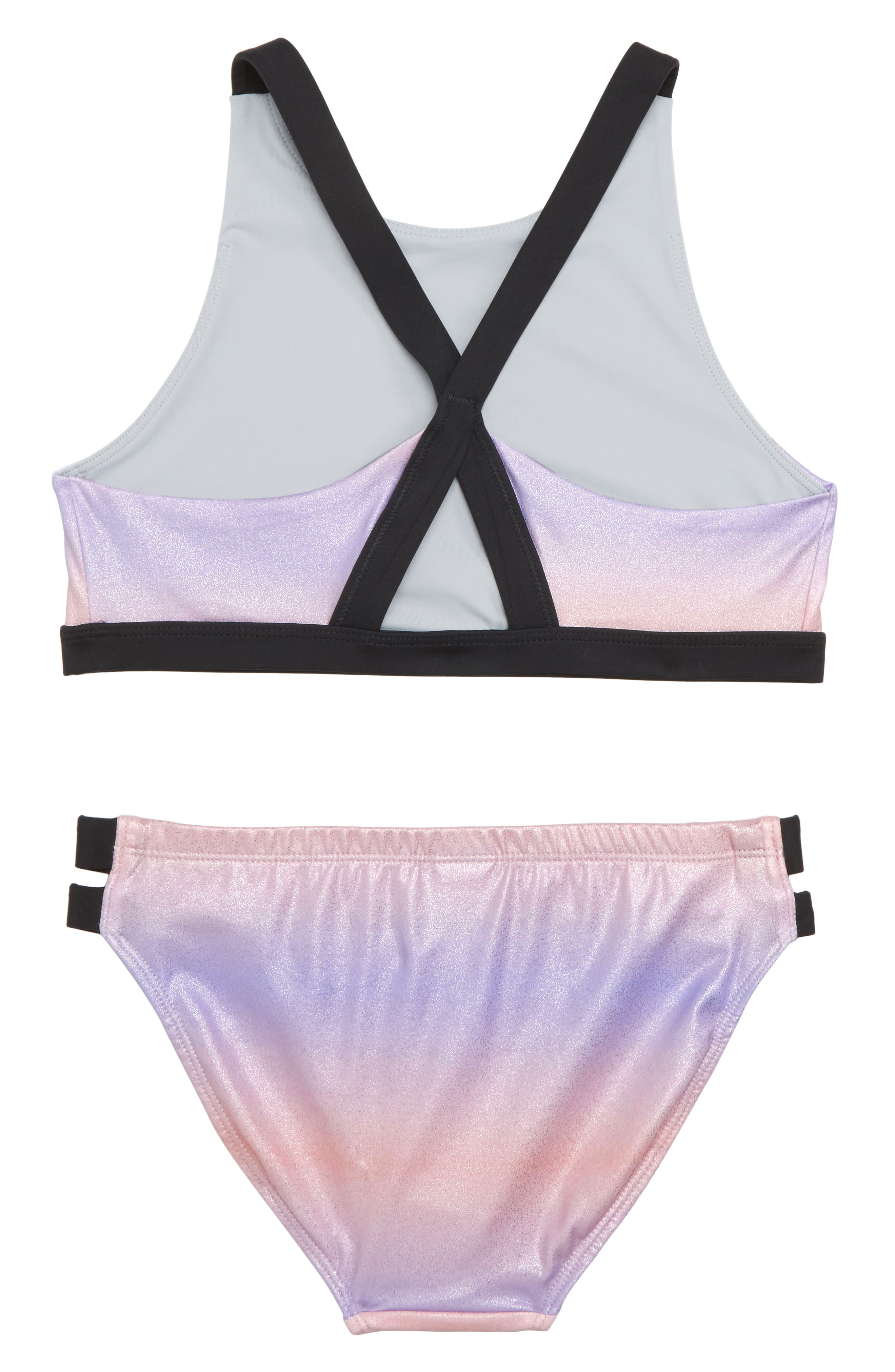 Strappy Sparkle Two-Piece Swimsuit,                             Alternate thumbnail 2, color,                             Pink Sunset Metallic